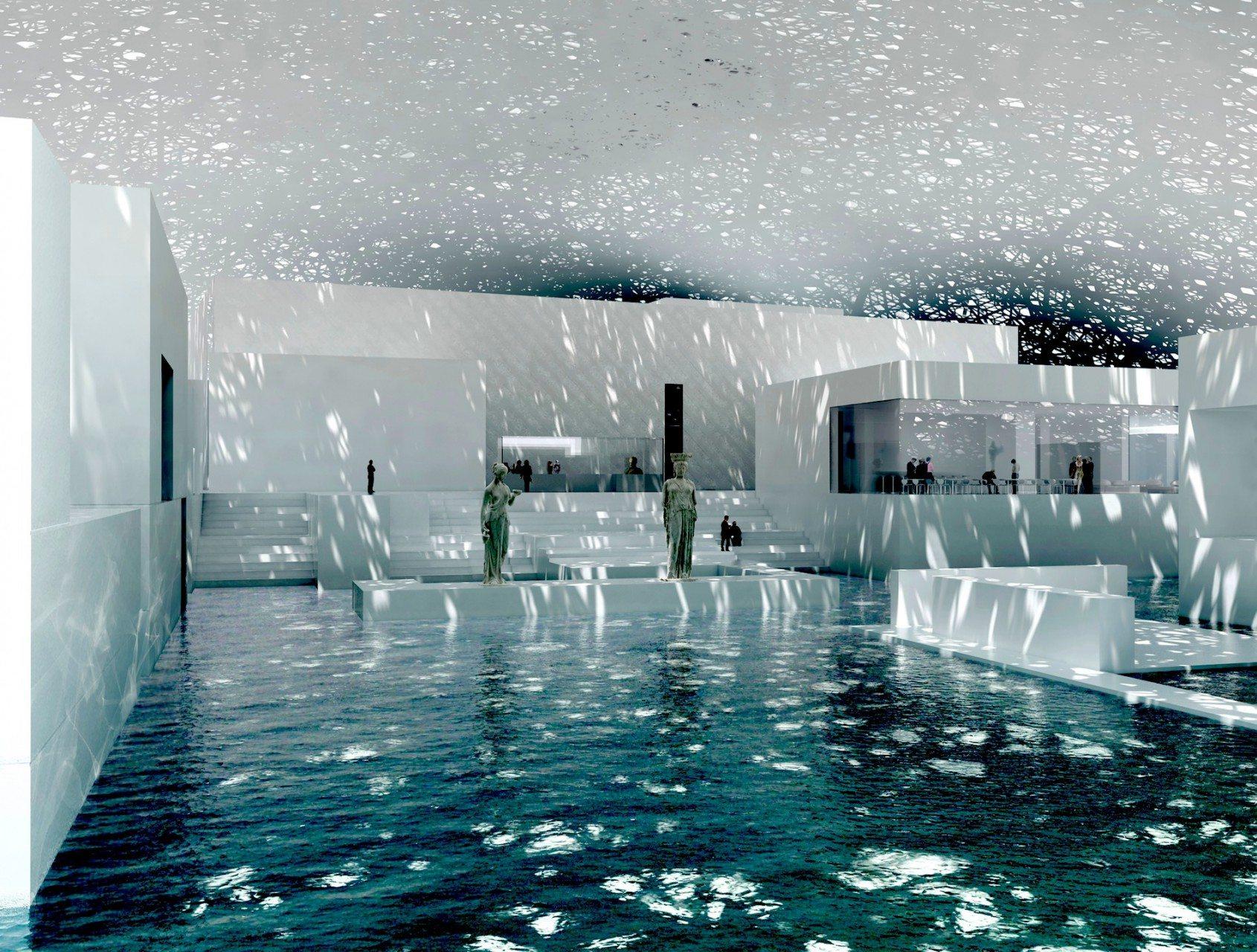 Lichtsee. Künstliche Wasserflächen im Innenraum des Museum.