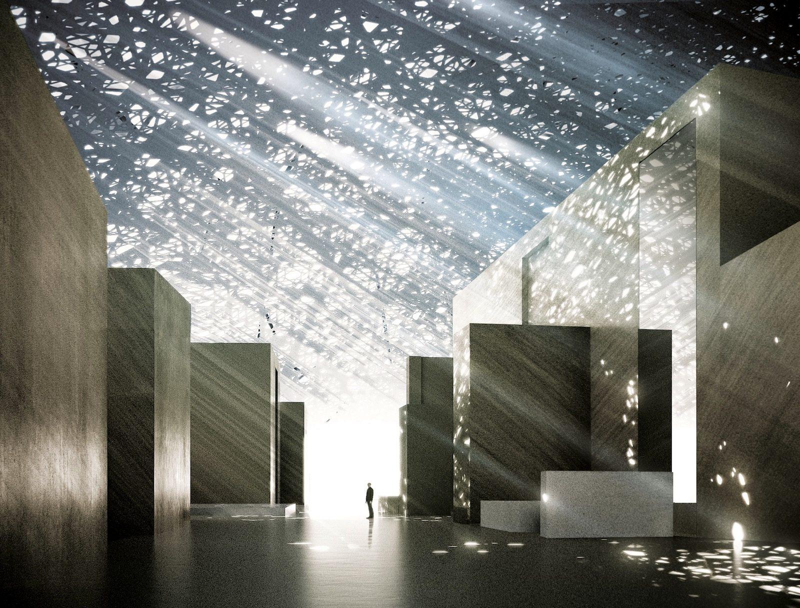 Lichtregen. Durch die perforierte Stahl-Aluminium-Kuppel fließt das Licht in den Innenraum des Museum.