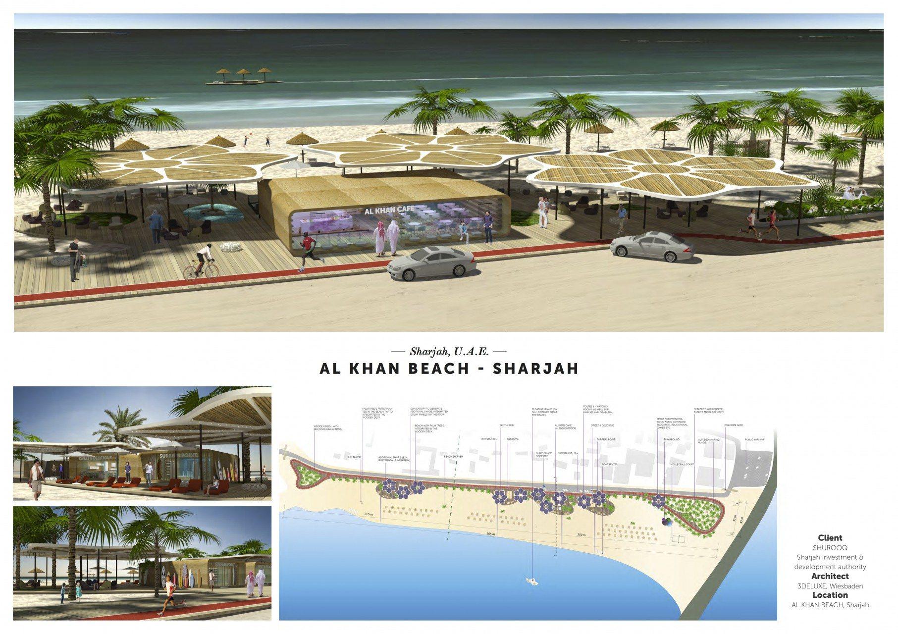 Al Khan Beach.  Auch das nächste Projekt von 3deluxe im Emirat von Sharjah steht fest: die Neugestaltung des Al Khan Strands, nur wenige Kilometer von Al Noor Island entfernt.
