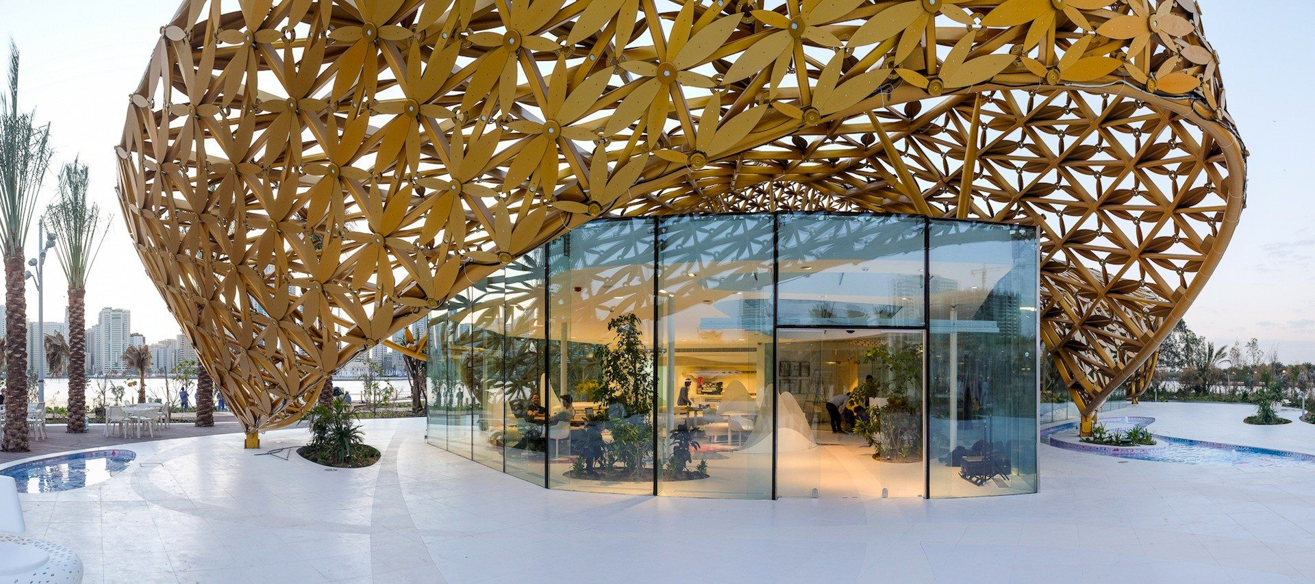 "Butterfly Pavilion.  ""The shape and design of the pavilion's biomorphic outer shell are the product of an intense formal exploration of parametric design strategies in dialog with traditional Arabian ornamentation."" 3deluxe"