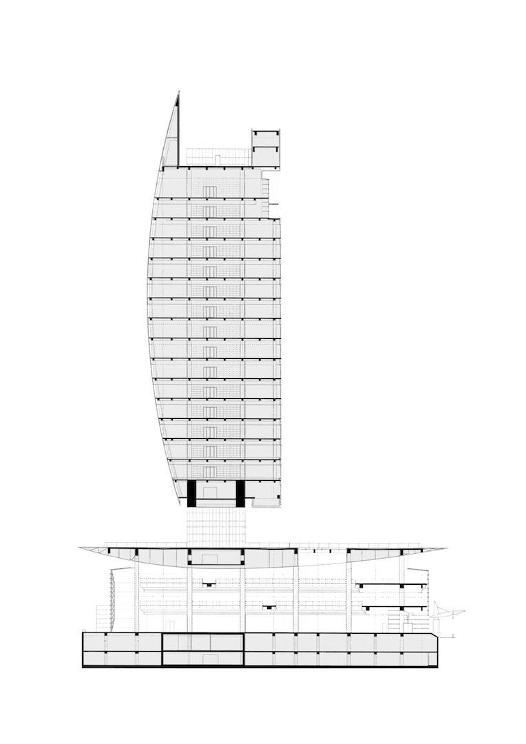 National Bank of Dubai. Schnitt durch die NBD