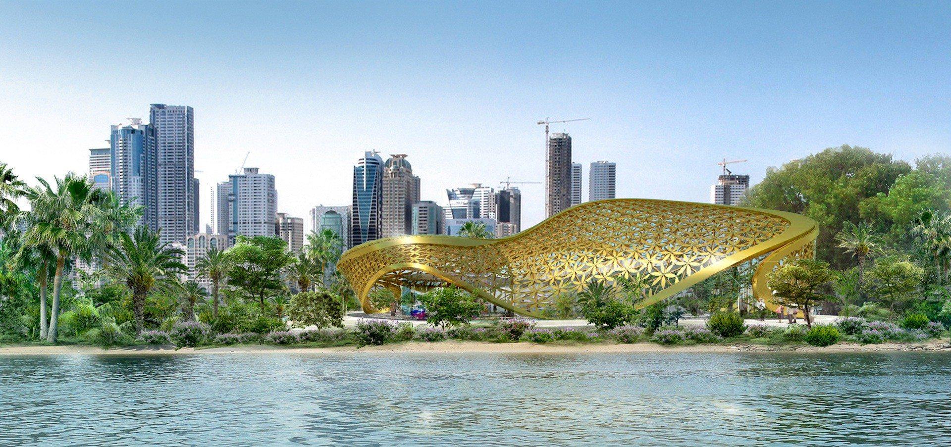 Noor Island.  Mit dem Butterfly Pavilion und der Skyline von Sharjah-Stadt