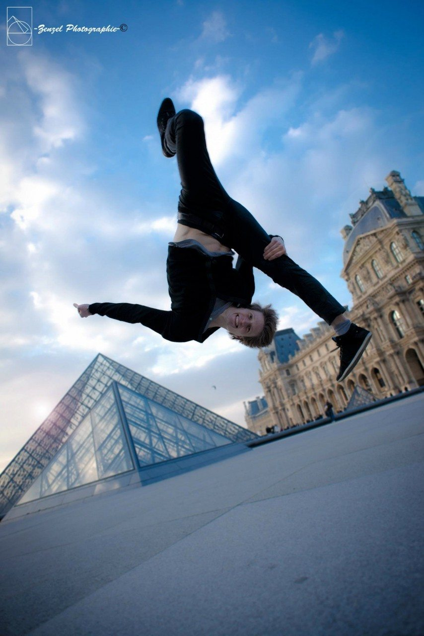 "At the Louvre. ""I have always loved to move. Not only to dance or to jump. I think for me it is all about movement: movement of body, mind and soul."" – Andrea Catozzi"