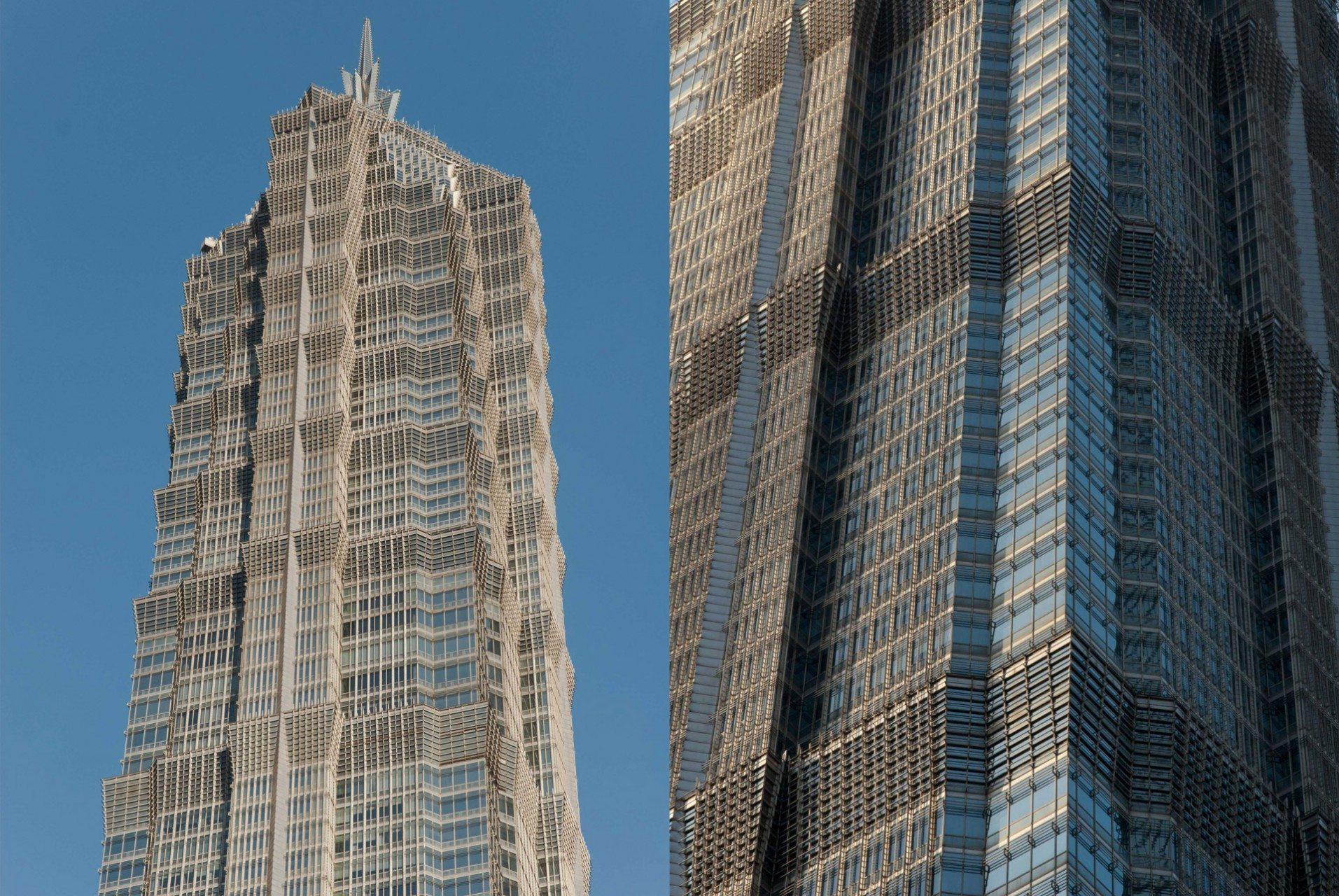 Jin Mao Tower. 1999, - Shanghai, Pudong, Lujiazui. Architekt: Adrian Smith SOM. Der Jin Mao Tower bedeutet übersetzt: Üppiges, goldenes Hochhaus. Der Name ist Programm! Auf der Besucherplattform hat man die Möglichkeit in die Mitte des Hotels, der auch gleichzeitig der Flur des Hotels ist, zu sehen. Nicht nur die Höhe beeindruckt, sondern auch der gold-glänzende Flur. Da die Zahl 8 im chinesischen Glück bedeutet, hat der Tower 88 Stockwerke.
