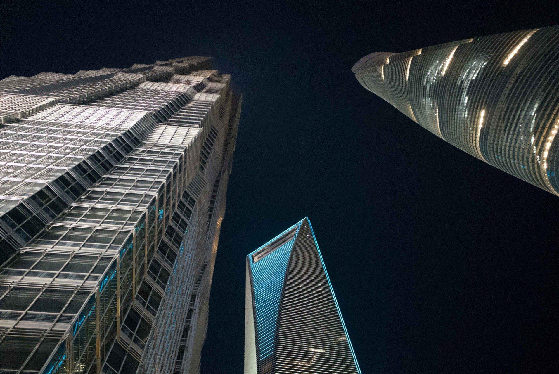 Die drei Superwolkenkratzer. Jin Mao Towers, Shanghai World Financial Center und der Shanghai Tower