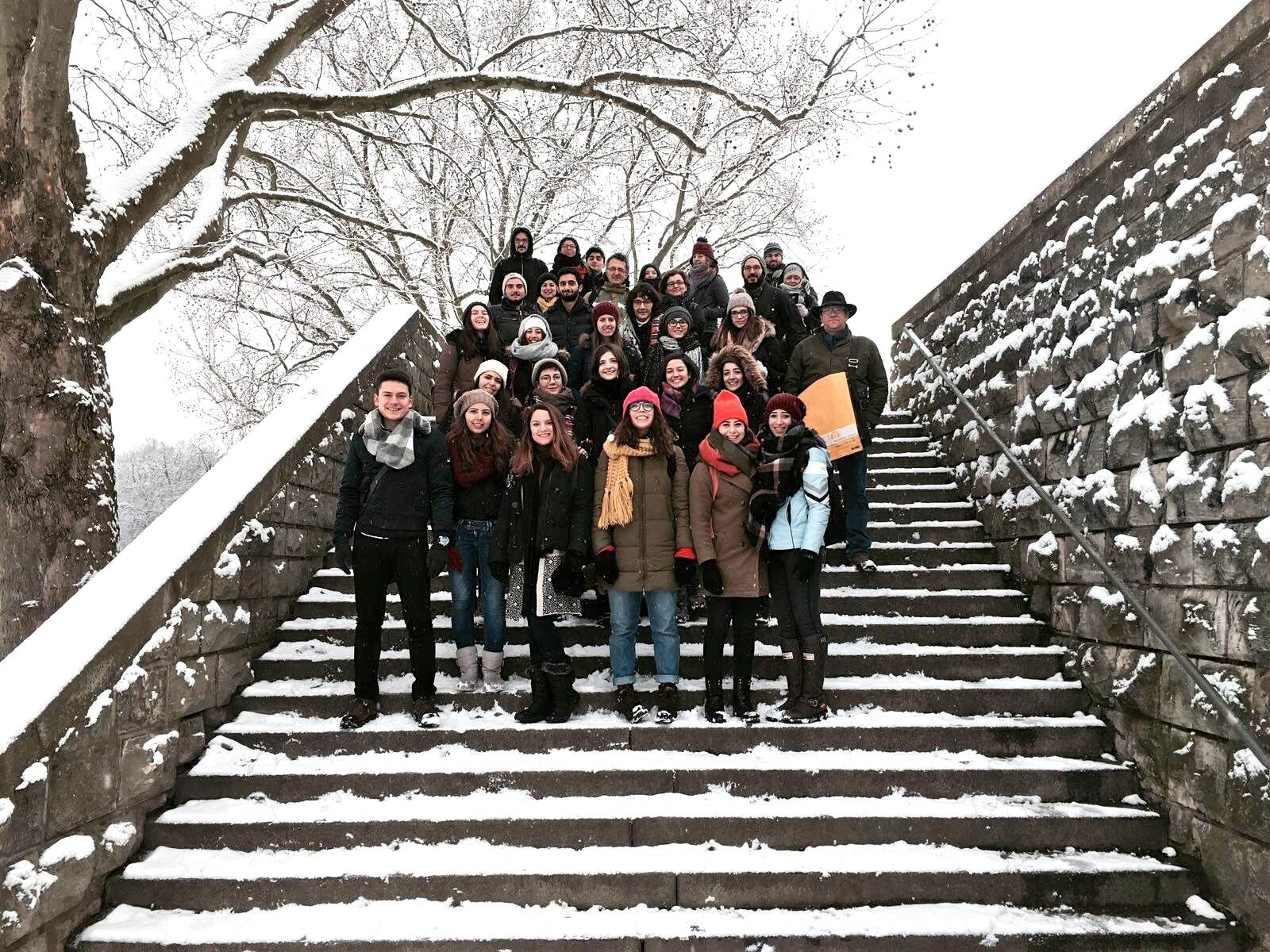 "MEF University students. At the Schillerpark, Berlin. This excursion to Berlin took place from 16–20 January 2016 – for the second year undergraduate architectural studio, which is run by Sevince Bayrak and Arda Inceoglu. The studio's subject for this semester is ""Dwelling in Berlin"" and the students will design housing units with different scenarios in Berlin."