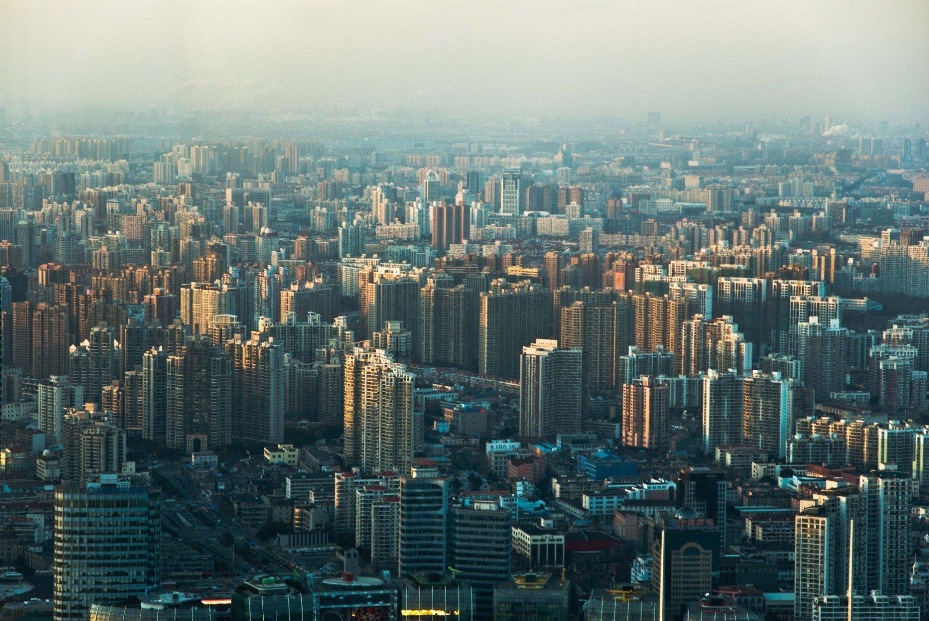Shanghai Skyline von oben.