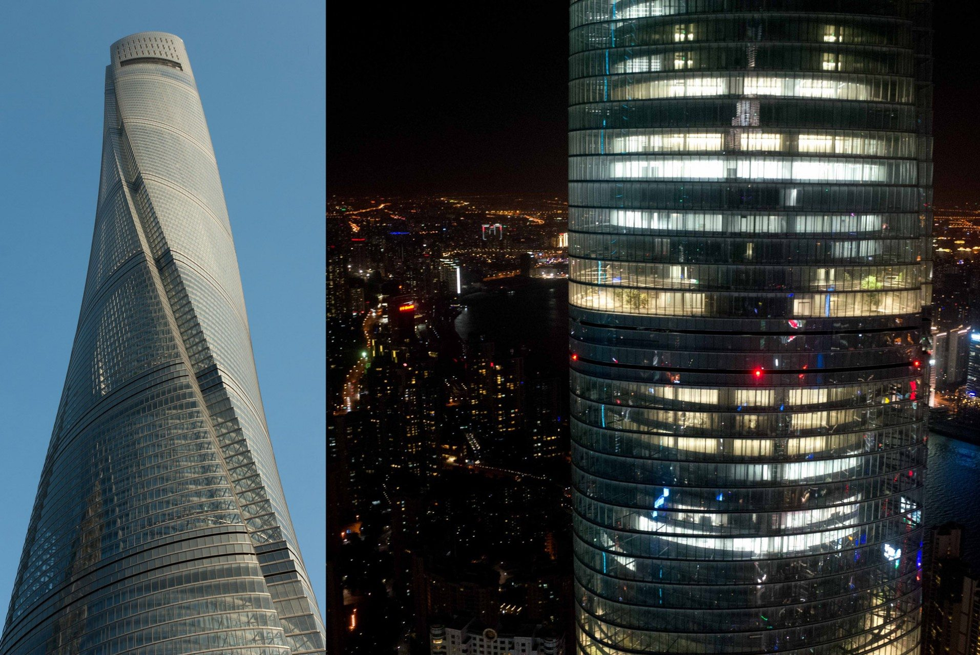 Shanghai Tower. 2015 – Shanghai, Pudong, Lujiazui. Von Gensler. Der Shanghai Tower ist das zweithöchste Gebäude auf der Welt nach dem Burj Khalifa (Dubai). Der Schwerpunkt der Architektur liegt auf der Nachhaltigkeit. Durch die Konstruktion des Gebäudes wird die Windbelastung reduziert, wodurch Baumaterial eingespart wurde. Das Doppelwandsystem soll Energie sparen und durch den Spalt kann Regenwasser gesammelt werden um es weiter zu verwenden.