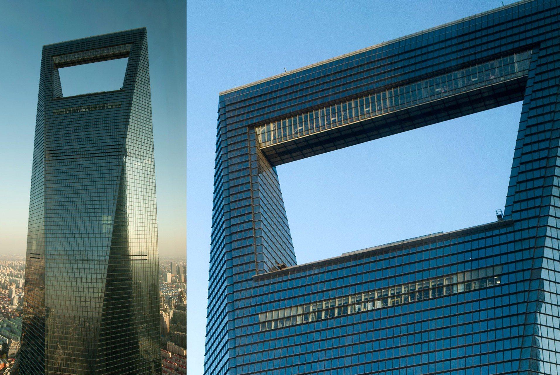 """Shanghai World Financial Center.  2008 – Shanghai, Pudong, Lujiazui. Von Kohn Pedersen Fox. Das Shanghai World Financial Center –oder auch """"Bottle-Opener"""" von vielen genannt – ist bekannt für seine trapezartige Aussparung an der Spitze. In der oberen Besucherplattform hat man die Möglichkeit über eine Glasbrücke zu gehen und von dort aus in die Tiefe zu schauen."""