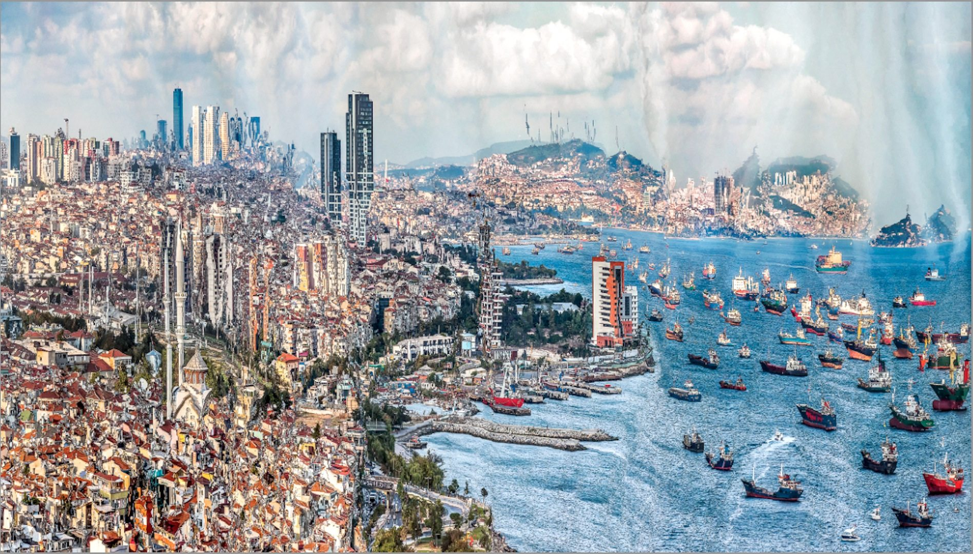 """Ataköy #1. Aus der """"Muta-morphosis""""-Serie des Künstlers Germen, der die Panorama-Malerei des späten 19. Jahrhunderts mit der zeitgenössischen Entwicklung des Geschäftsviertels Ataköy verbindet."""
