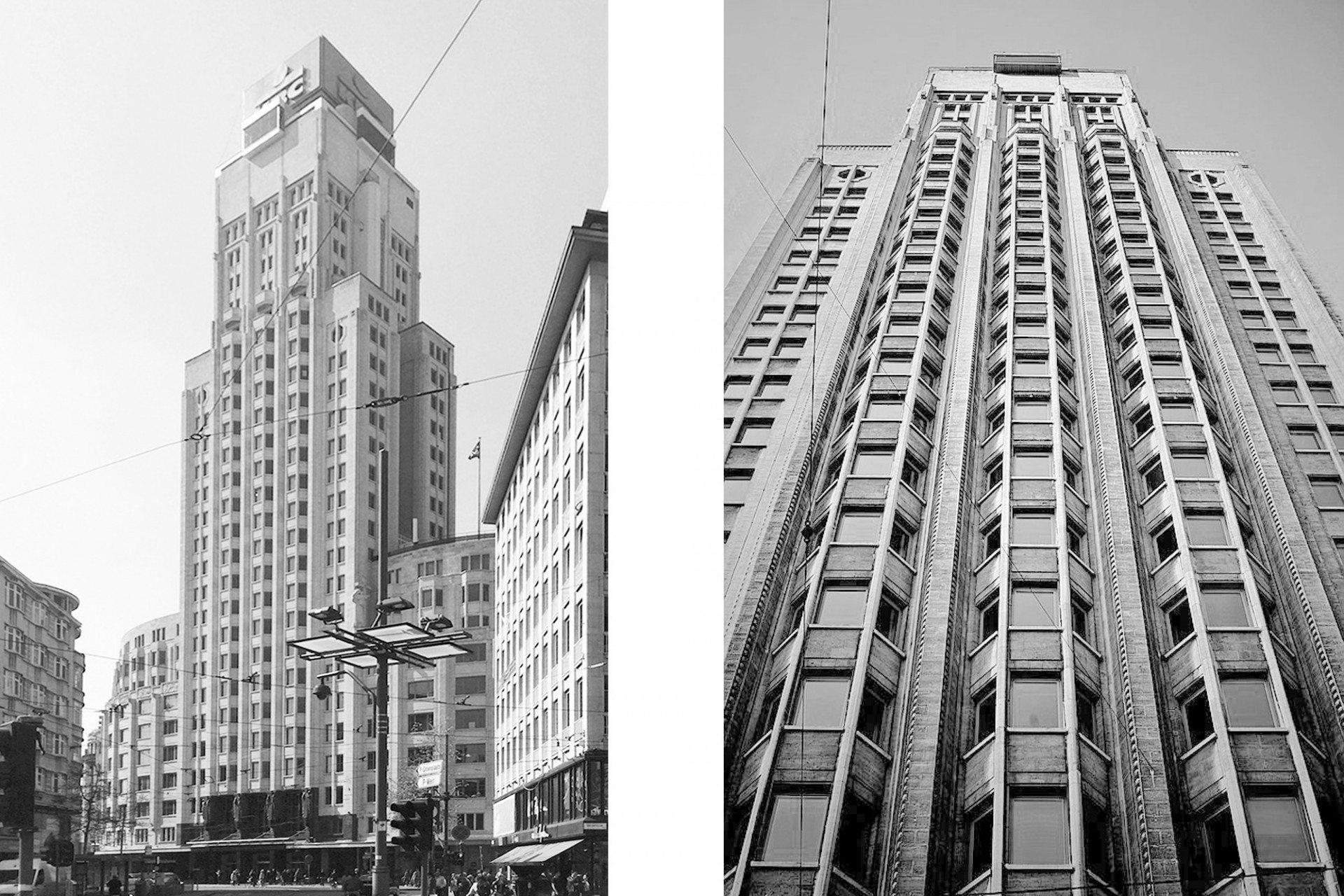"""Amerikanisch. Er ist noch immer der Star der modernen Antwerpener Skyline. Bei seiner spektakulären Eröffnung anlässlich der Weltausstellung 1930 war der Boerentoren (Bauernturm) eines der höchsten Gebäude Europas. Seinen Namen erhielt der 87,5 Meter hohe Turm durch die damaligen Hauptklienten der Bauherrin """"Kredietbank"""". Sie waren zumeist Bauern. Der Architekt Jan Van Hoenacker ließ sich bei seinem Entwurf unverkennbar von den Art Déco-Legenden Chicagos und New Yorks inspirieren. Durch spätere Umbauten und Aufstockungen wuchs er auf mittlerweile 97 Meter an."""