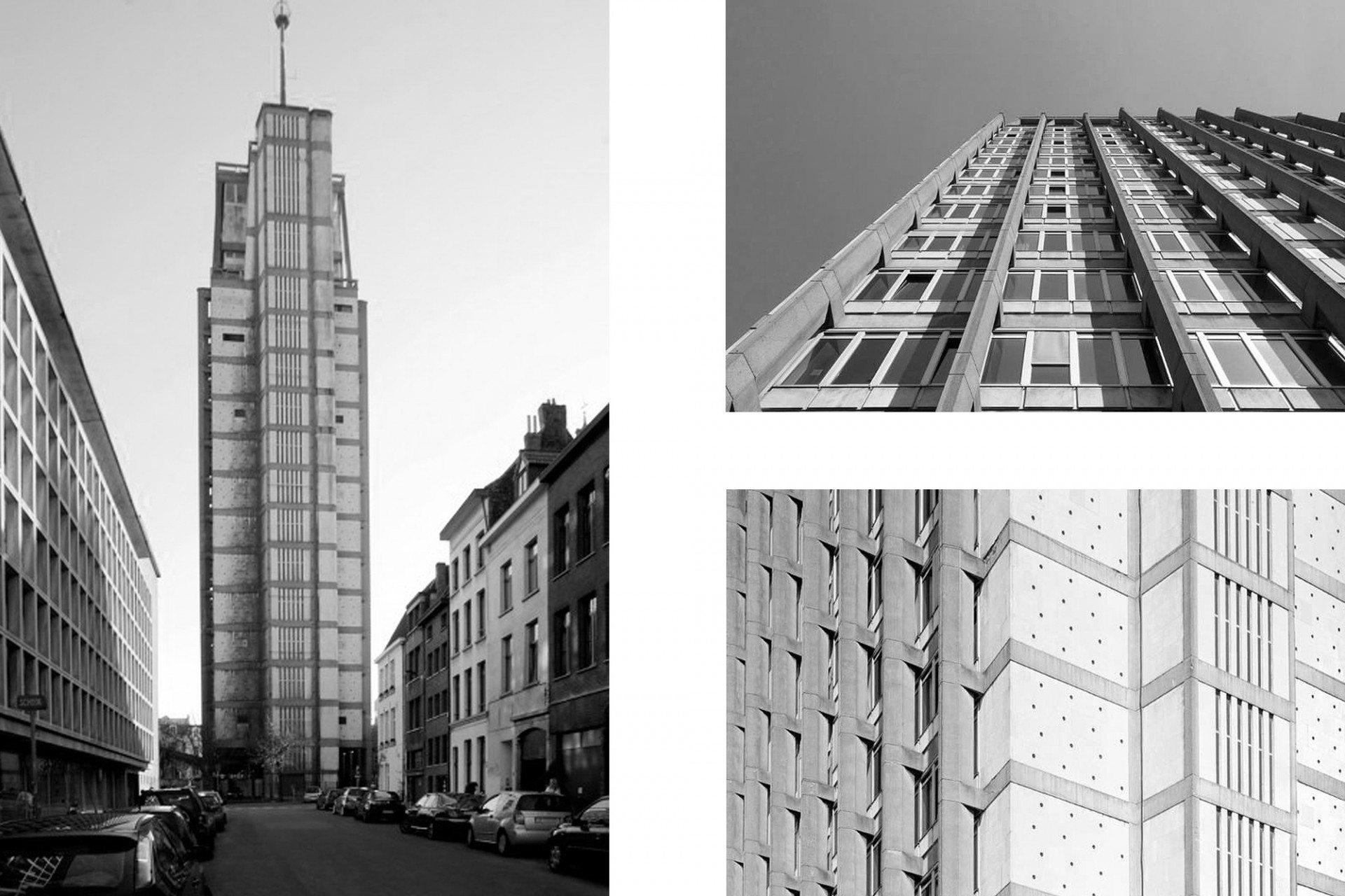 """Brutalistisch. Für viele ist """"Den Oudaan"""" das hässlichste Gebäude der Stadt. Die Modernisten Renaat Braem, J. De Roover und M. Wijnants errichteten den Turm zwischen 1957 und 1967 als neue Polizeizentrale. Ursprünglich waren sogar zwei Türme geplant, die durch ein sechsgeschossiges Sockelgebäude verbunden werden sollten. Ein großer Teil der alten Stadtstruktur wurde damals abgetragen, darunter eine einzigartige Einkaufspassage des belgischen Architekten J.P. Cluysenaar aus dem 19. Jahrhundert. Dem Stahlbetonriesen drohte dasselbe Schicksal, bis sich seit einiger Zeit die Bürgerinitiative """"We kopen samen den Oudaan"""" (Lasst uns den Oudaan kaufen) für den Erhalt und die Umnutzung des Bauwerks einsetzt. Es gibt auch Liebhaber des Brutalismus."""