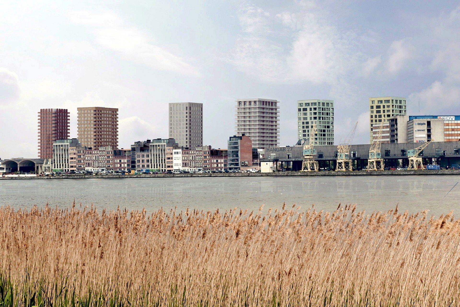 Turmparade. Die neue Skyline des Westkais mit den Zwillingstürmen von Diener + Diener, David Chipperfield Architects und Tony Fretton Architects (von rechts nach links)