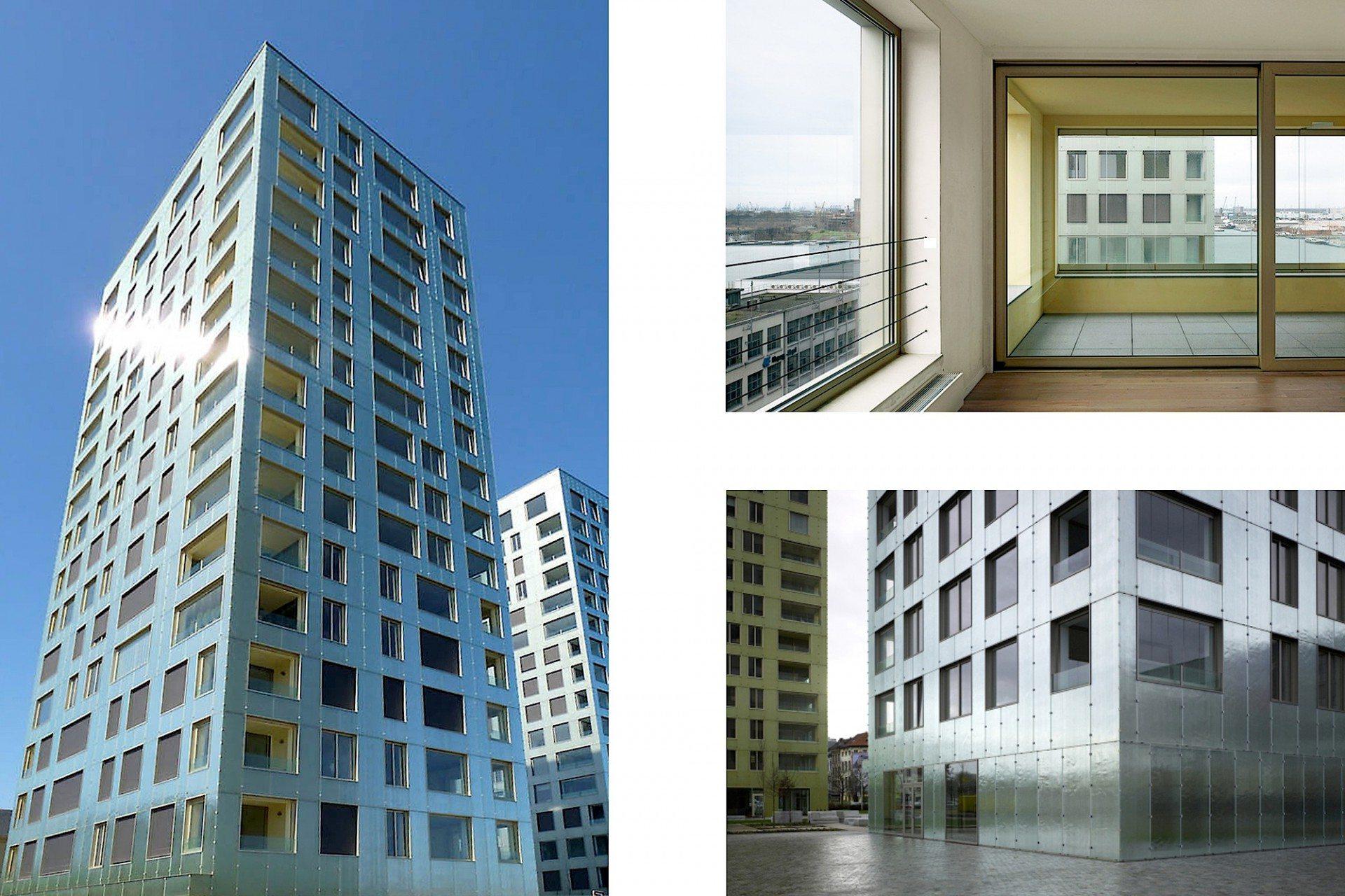 Glanzvoll. Die leicht versetzten Wohntürme 1 + 2 von Diener & Diener stehen leicht versetzt. Die Fassadenhaut aus Strukturglas und Aluminiumprofilen schimmert und glänzt je nach Tageszeit und Witterung von monochrom bis kontrastierend.