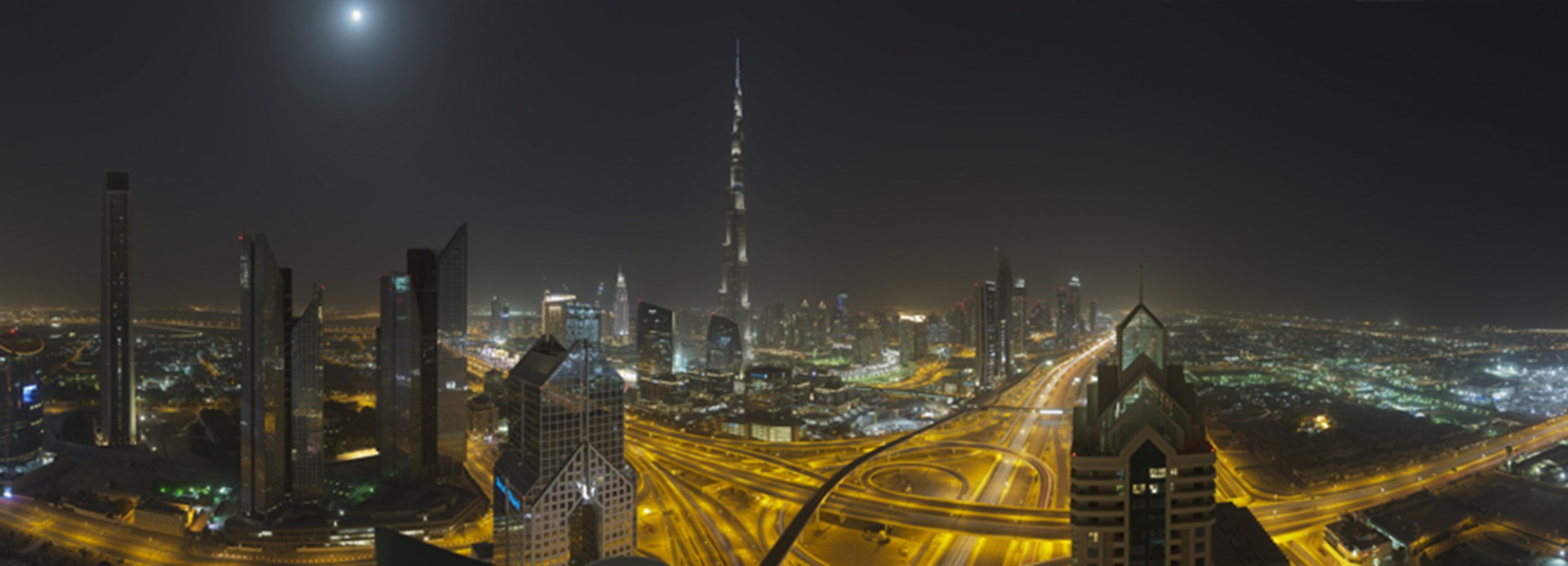 Sheikh Zayed Road, Downtown at night. 25°12'28''N 55°16'15''E