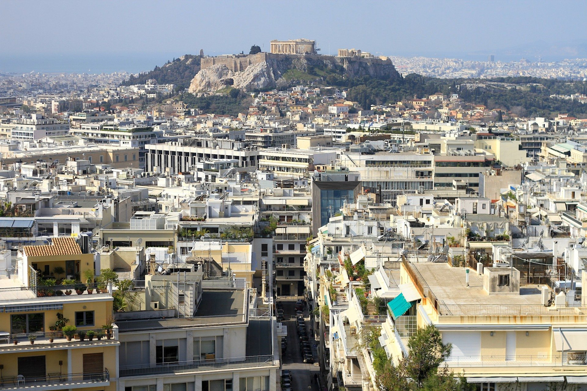 Athenopolis.  The view from the terrace of the St George Lycabettus.