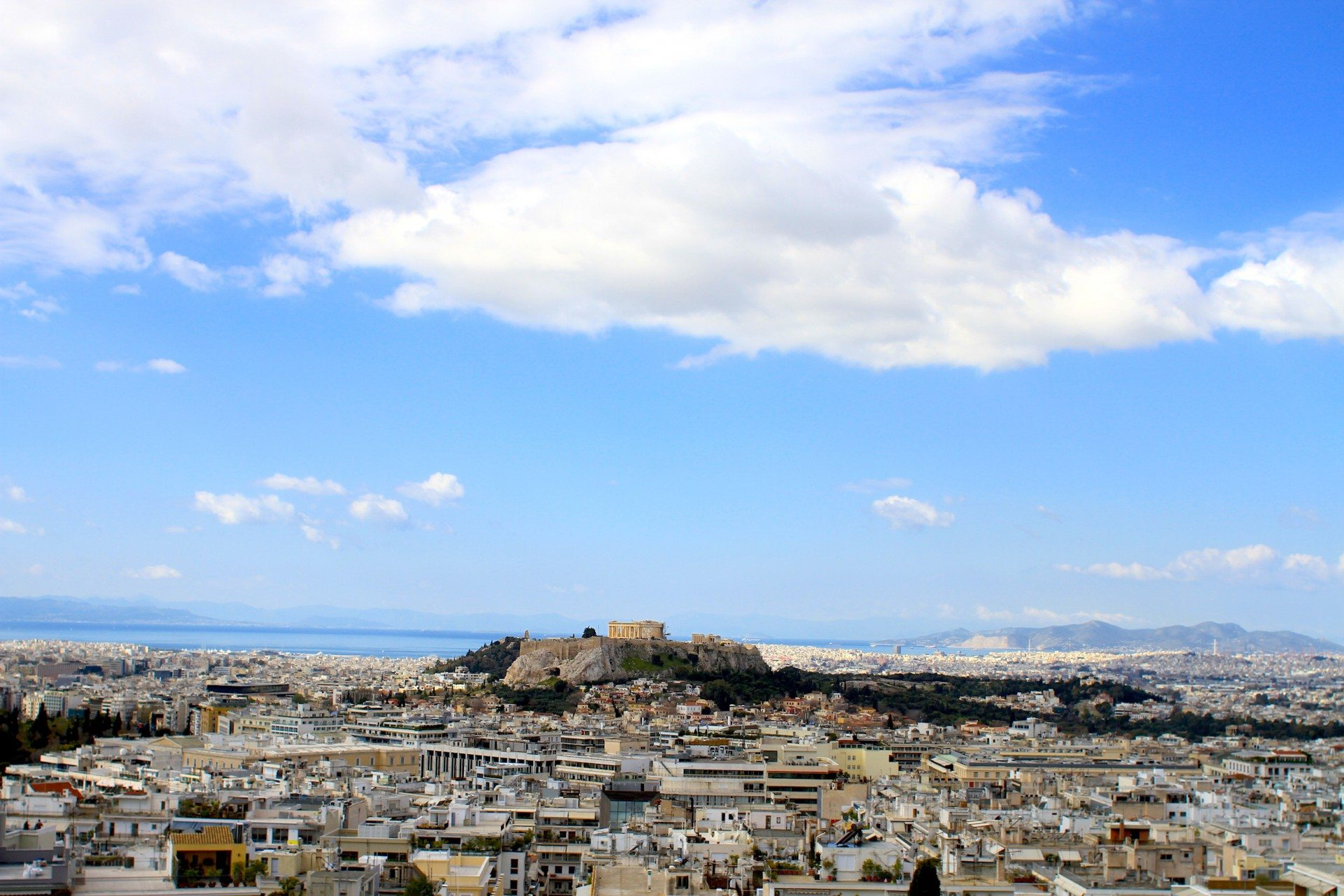 Blueness.  Kolonaki is located surrounding Lykavittos hill, the tallest hill in all of Athens.