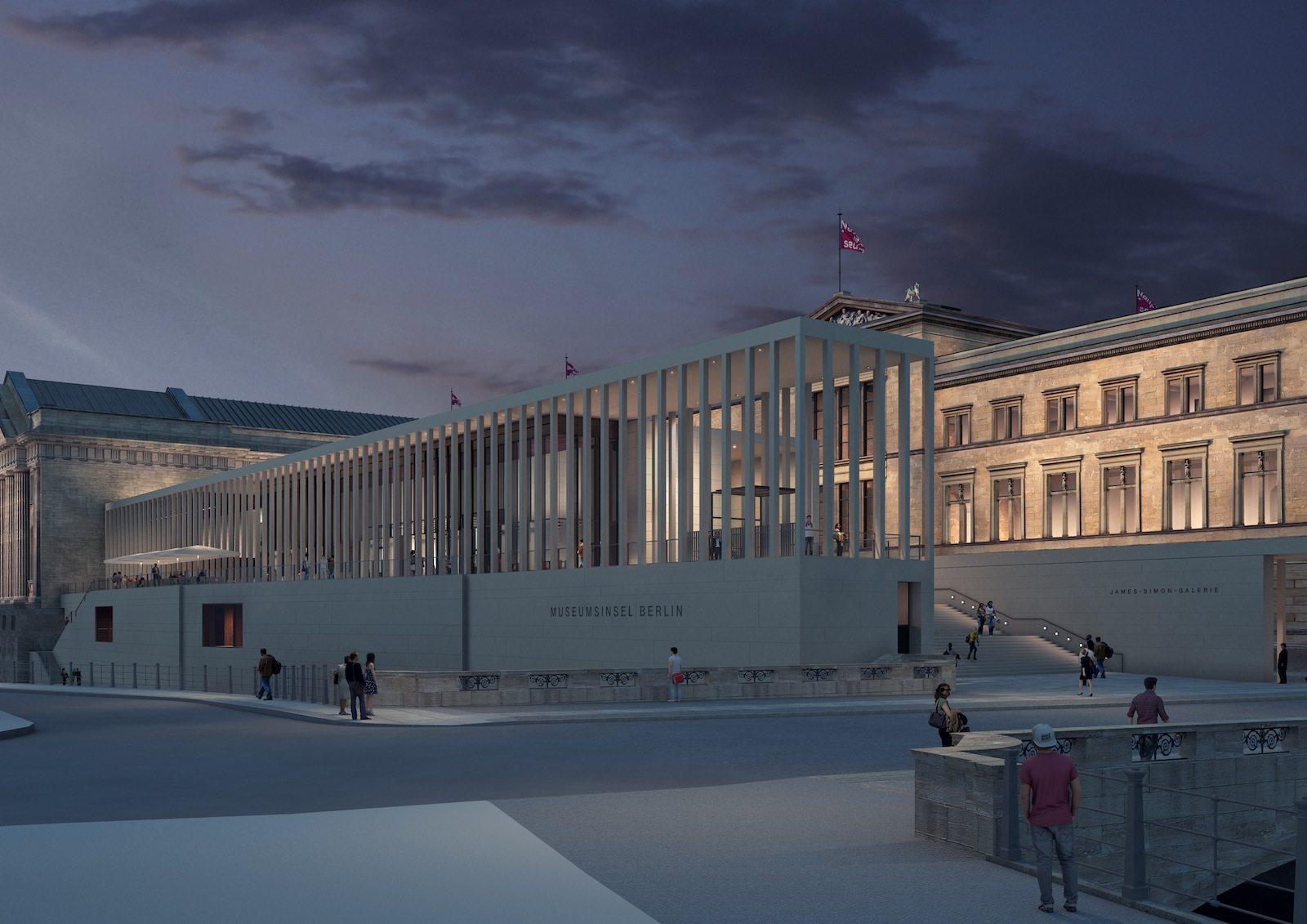 . Simulation: abendlicher Blick auf die James-Simon-Galerie von Südwesten, rechts das Neue Museum.