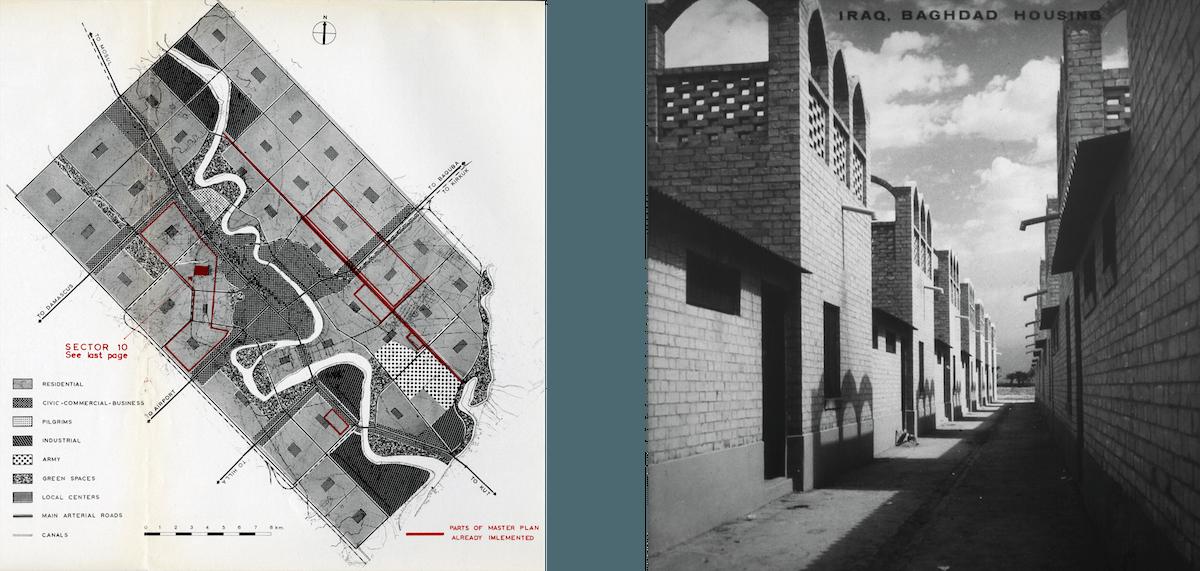 Bagdad Masterplan. Doxiadis entwickelte auch einen Masterplan für die irakische Hauptstadt. Ein Wohnquartier besteht aus zwei- bis dreigeschossigen Wohnhäusern, die ein lokales (Versorgungs-)Zentrum umschliessen und mit engen, verschatteten Gassen erschlossen werden.