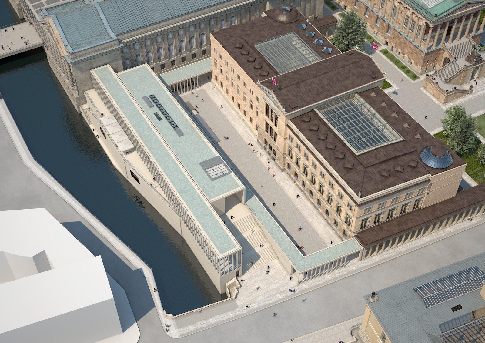 . Simulation der zukünftigen Museumsinsel Berlin: Blick auf den Neuen Hof zwischen Neuem Museum, Pergamonmuseum und James-Simon-Galerie.