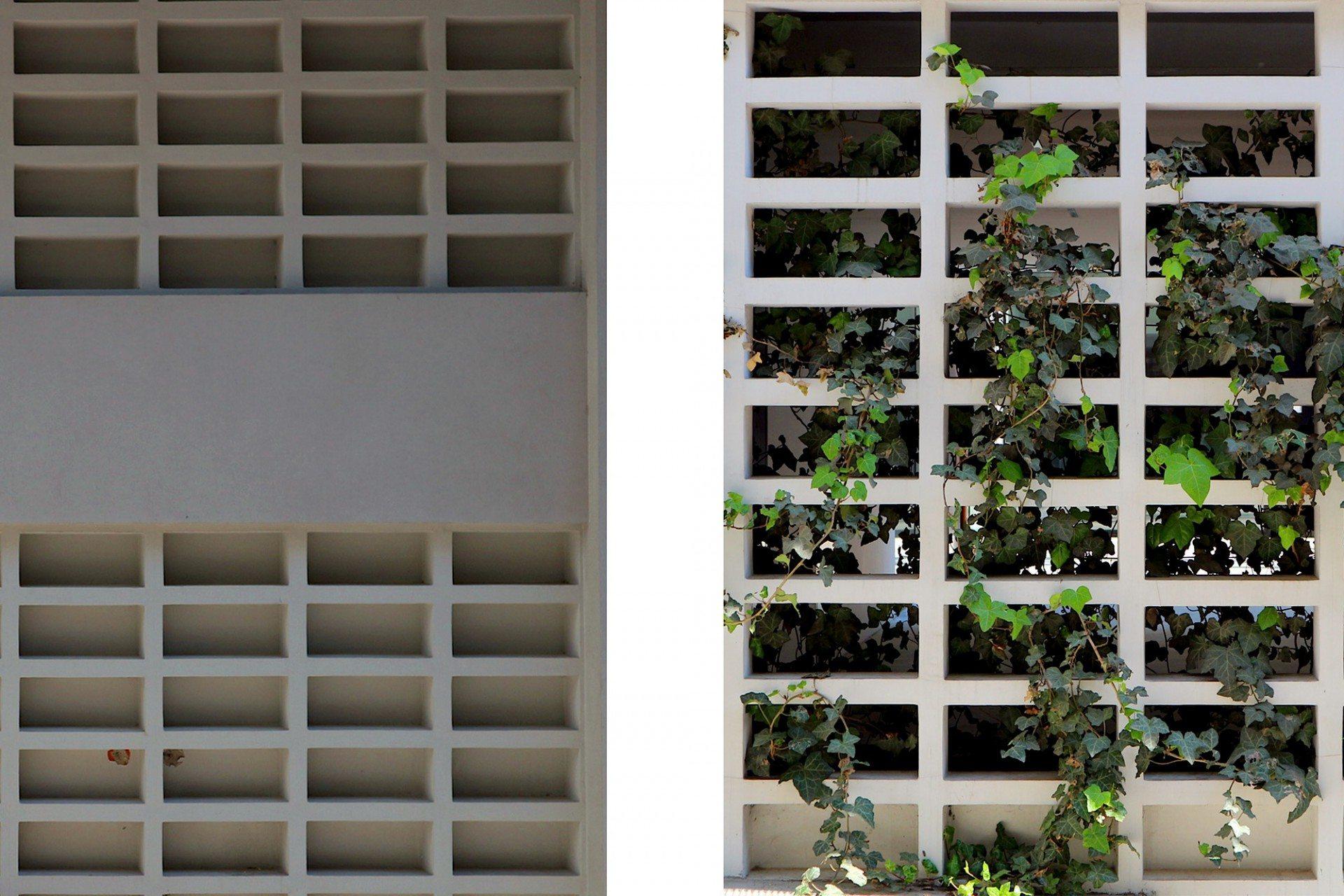 Gittermotiv. Die alten Betongitter-Elemente im Sockelbereich findet man an vielen Gebäuden dieser Zeit, aber auch an Tschumis neuem Akropolis-Museum.