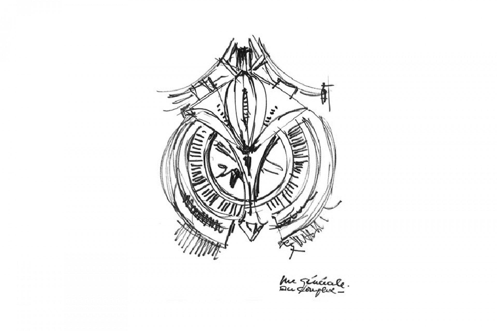 Schwungvoll.  Roger Taillibert's Skizze des Betonfalken.