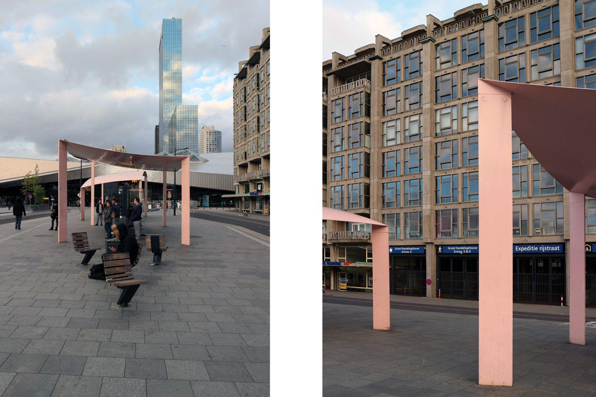 Busstation. Passende Beinamen waren mal wieder schnell gefunden. Die Rotterdamer nennen ihre pastell-pinkigen Bushaltestellen liebevoll: Kissen oder Hängematte.
