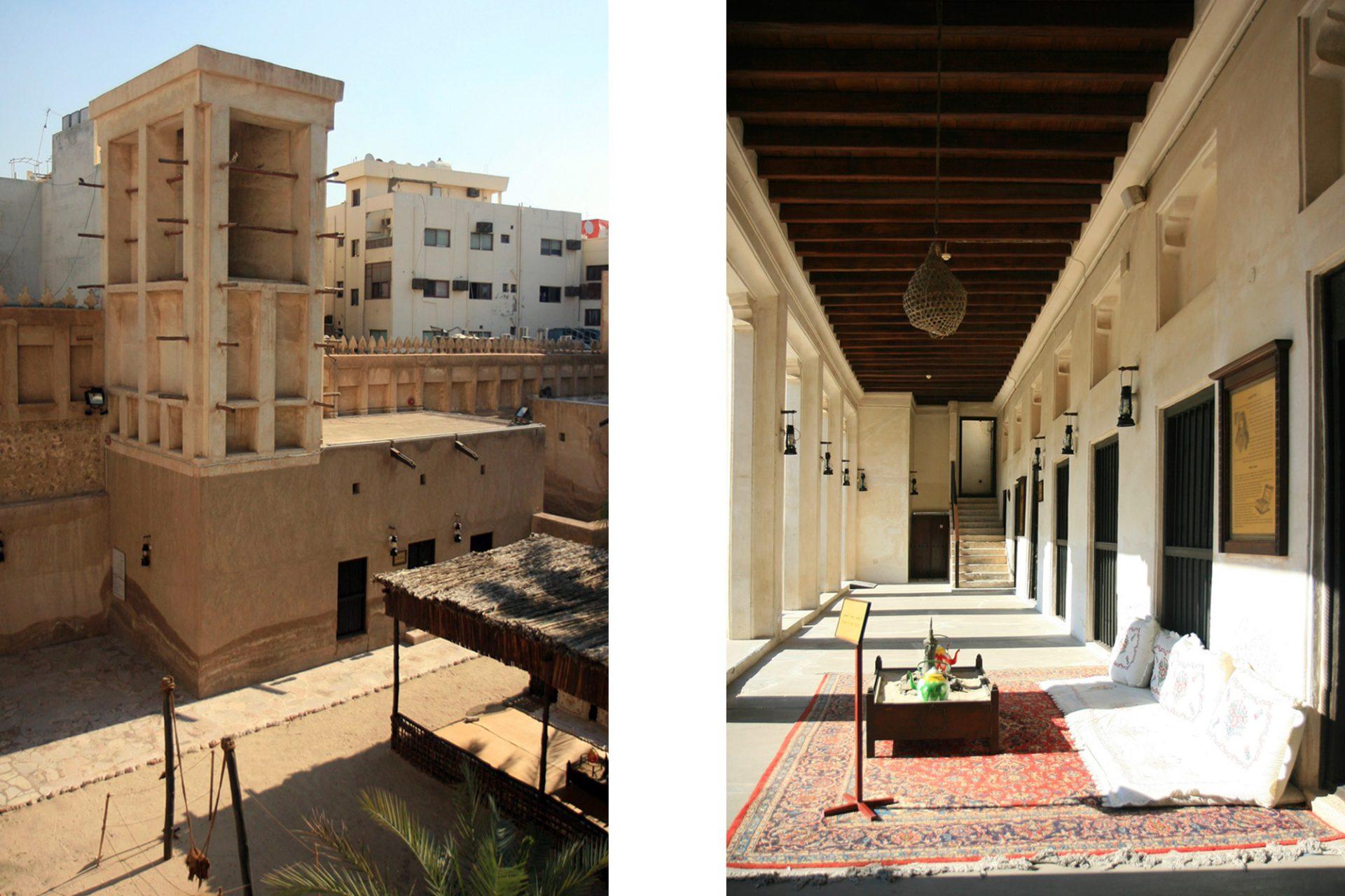 """Heritage House. Das Wohnhaus des reichen Perlenhändlers, Sheikh Ahmed Bin Dalmouk, wurde um 1890 von einem Vorbesitzer errichtet und in den Folgejahren stetig erweitert. Erst ab 1935 im Besitz Ibrahim Al Said Abdullahs wurde es zu einem regionaltypischen Familienhaus umgestaltet. Verwendet wurden nur die feinsten Materialien. Dekorative Motive und künstlerische Elemente wurden hinzufügt. Nach aufwendigen Restaurierungen eröffnete die Anlage 2000 als """"Heritage House""""."""