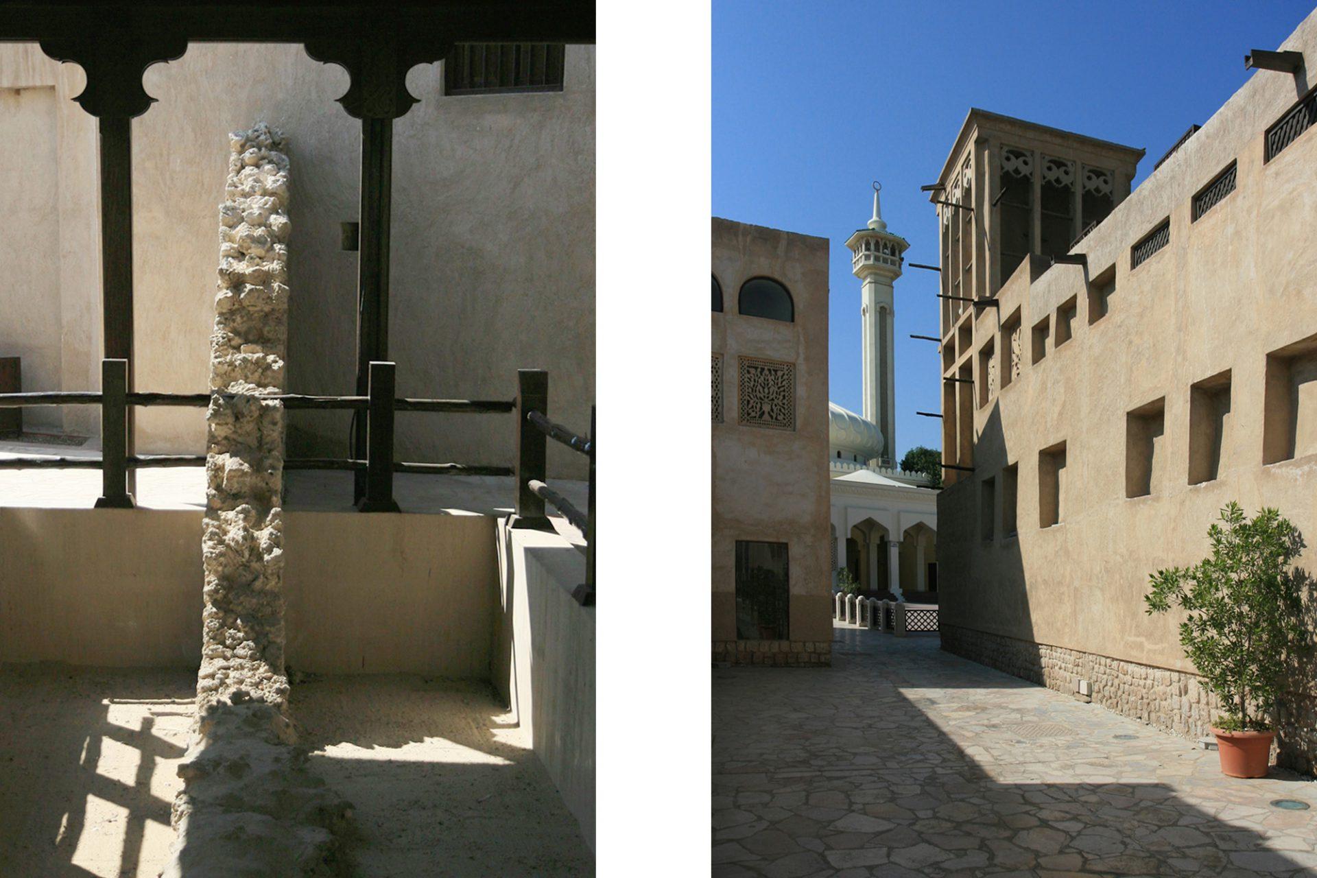Al Bastakiya. ... in dem neben der Häuser aus Kalkstein, Lehm und Muscheln und der einzigen Reste der historischen Stadtbefestigung zu sehen sind, ...
