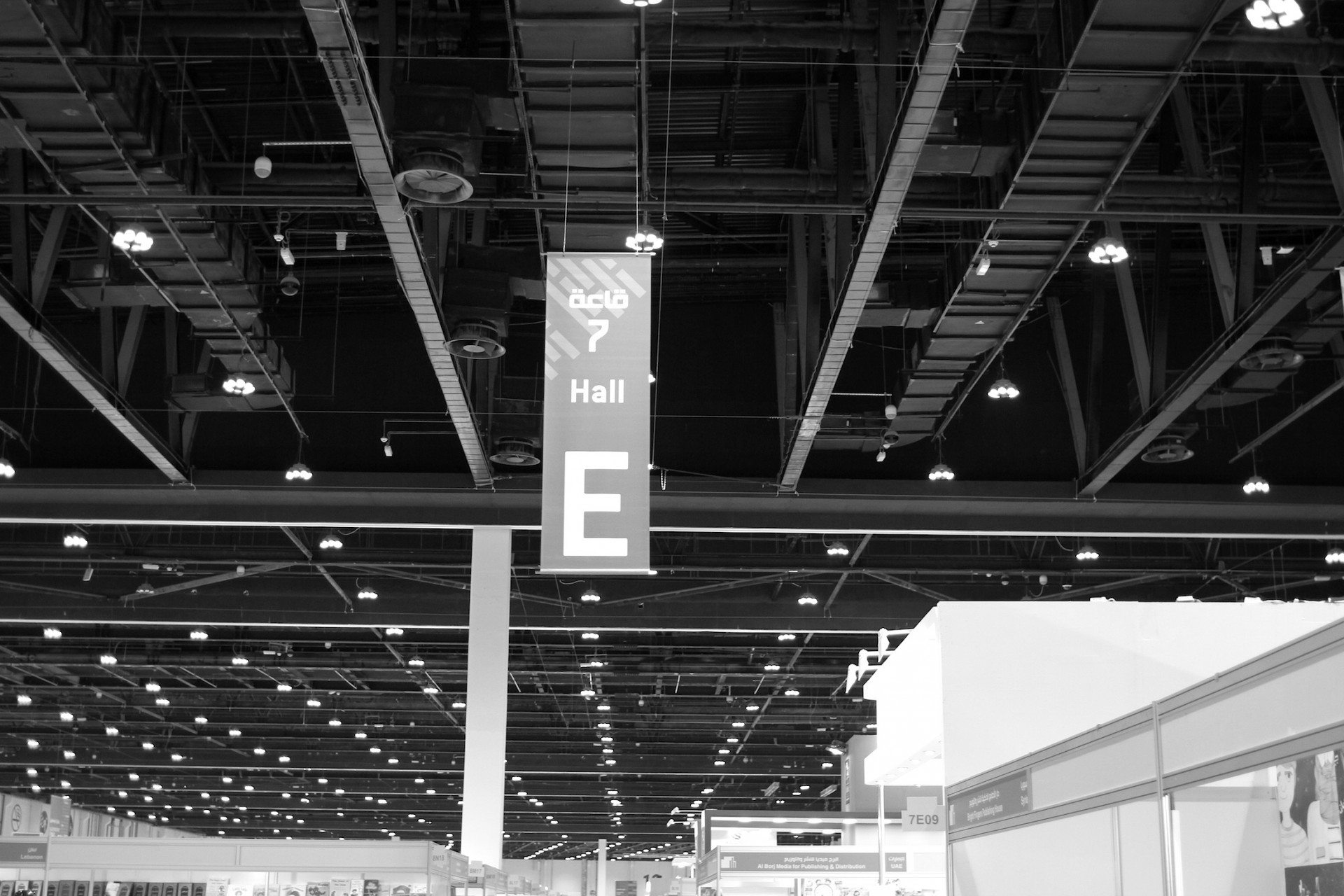 Lines and lights. Hall 7 of the ADIBF