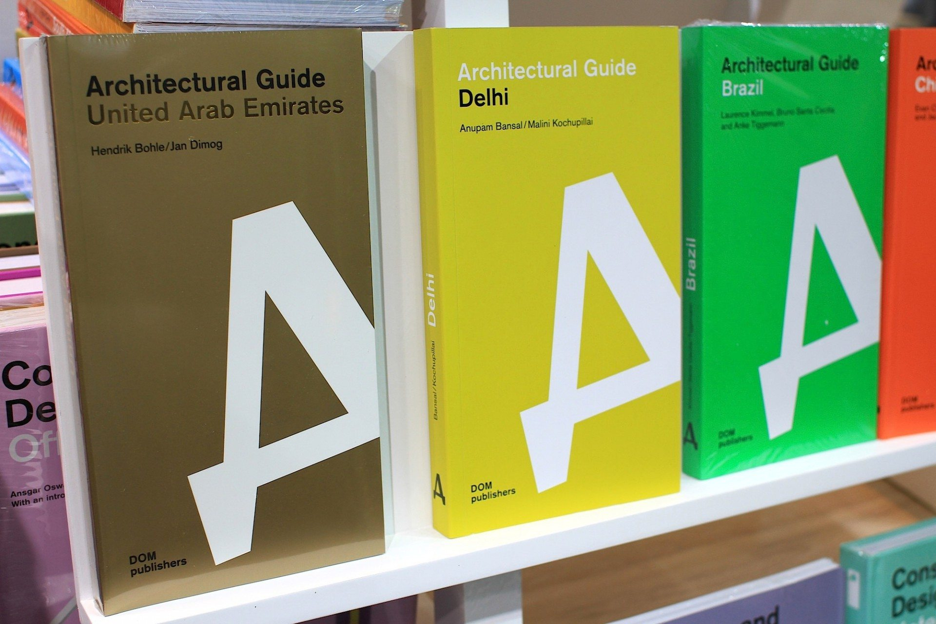Cities and countries.  Covers of the Architectural Guides United Arab Emirates, Delhi and Brazil.