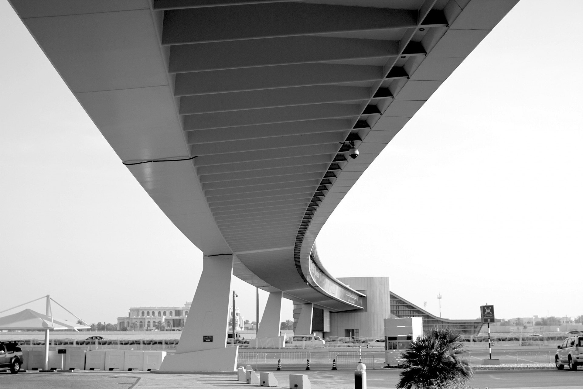 Curved and clear.  The Pedestrian Bridge by Dissing + Weitling at the ADNEC site.