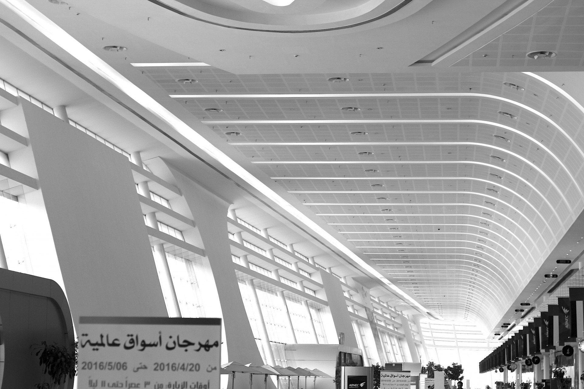 White and wide.  The Abu Dhabi National Exhibition Centre, host of the Abu Dhabi International Book Fair