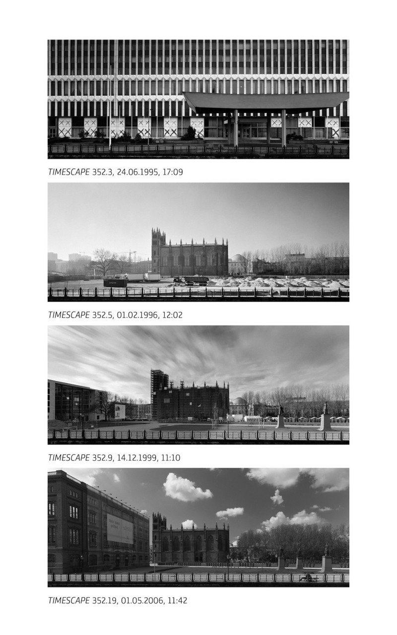"""Timescape. """"Das Forschungsprojekt THE TEXTURE OF TIME wurde 1966 begonnen und befindet sich seit 1987 in seiner intensiven Phase. Es wird sich bis zu seinem Abschluss im Jahr 2016 über einen Beobachtungszeitraum von 50 Jahren erstreckt haben."""" Aus dem Ausstellungskatalog, Seite 100, 101. Gezeigt wird die Arbeit von Michael Ruetz, der Berlins öffentliche Raume Jahr für Jahr vom selben Standpunkt fotografiert hat."""