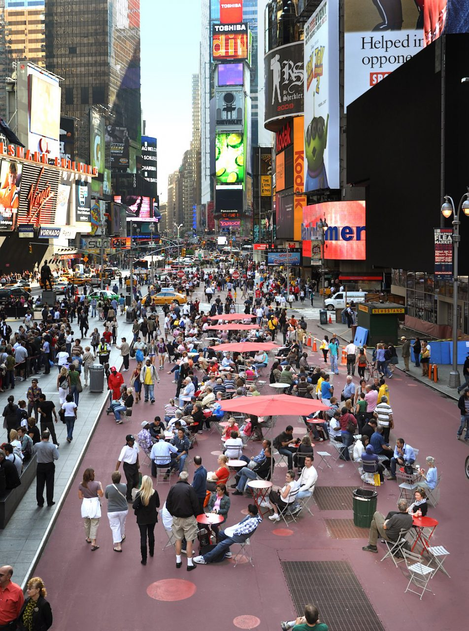 """Times Square, New York City: Places for People.  After. """"We identified and analyzed key areas in the city, gathering the data crucial to setting new goals. Our first survey was an eye-opener in terms of who uses the streets and how they use them. We discovered that only 10% of the people on the streets were children and seniors. That 90% of the space in Times Square was for cars, yet 90% of the people there were pedestrians."""" From gehlarchitects.com"""