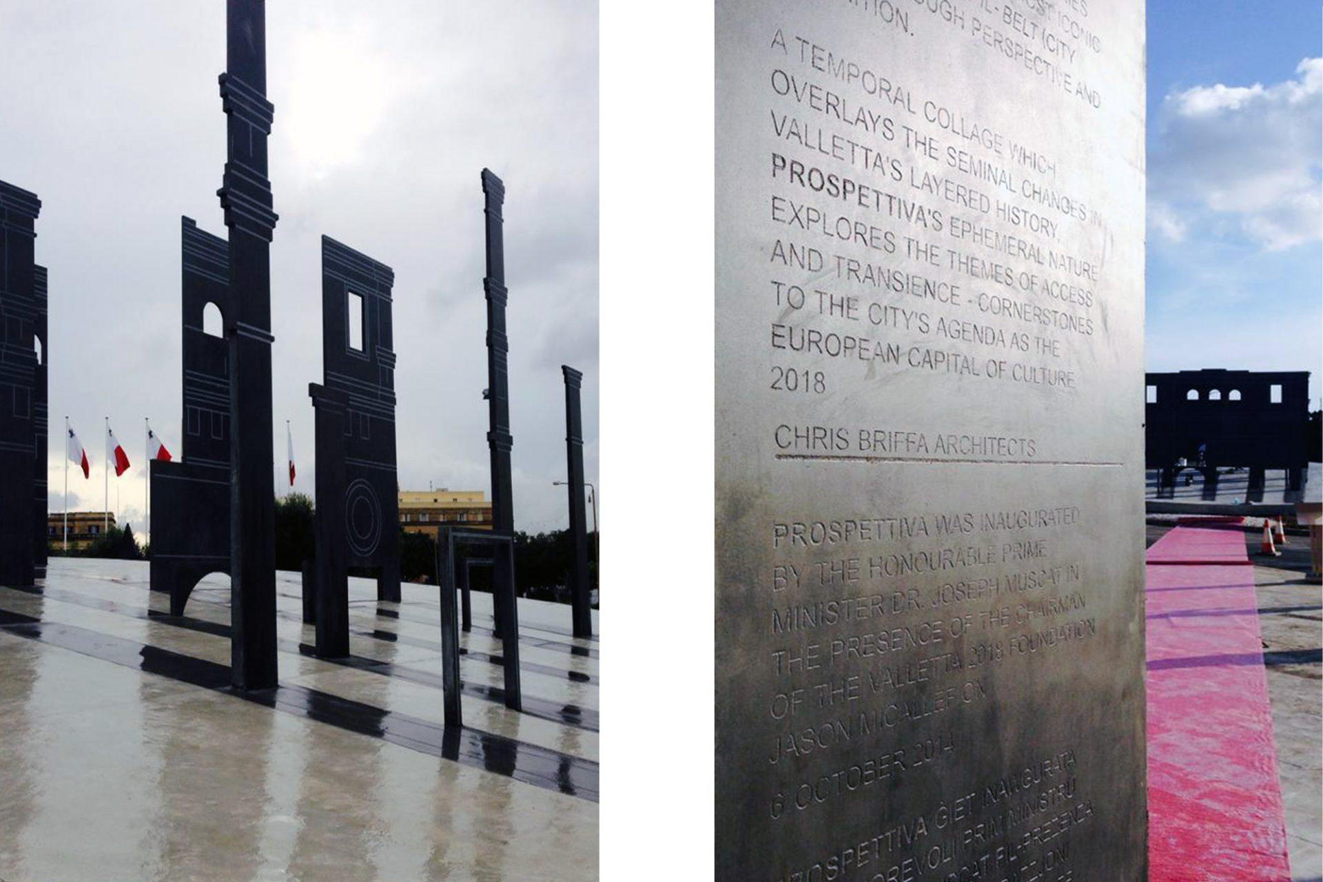 """""""Perspettiva"""" von Chris Briffa.  Fünf Silhouetten aus Stahl repräsentieren die fünf Tore. Aus einer bestimmten Perspektive fügen sich die einzelnen Zeitschichten zu einem Ganzen und formen eine neue kraftvolle Architektur."""