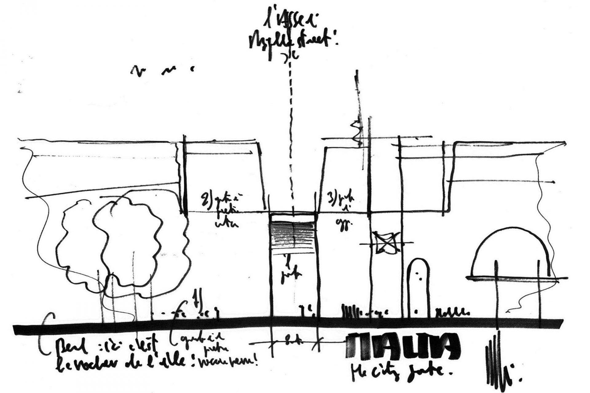 Entfaltet.  Die Ansichtsskizze zum City Gate-Projekt von RPBW