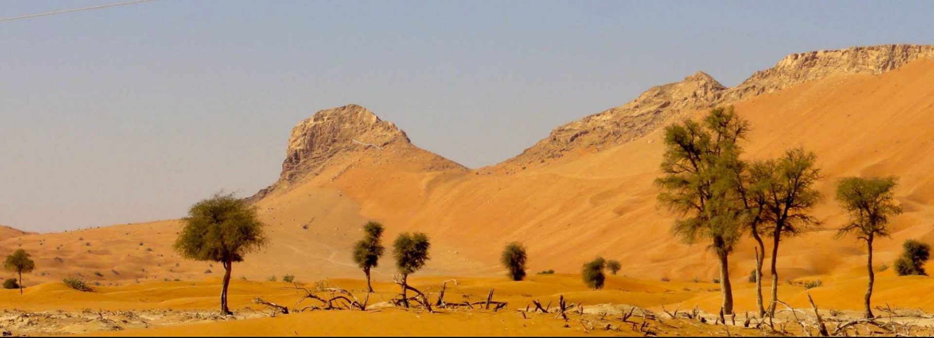 Jebel Faya. Wie der Kamm eines riesigen Reptils ragt das umgangssprachlich Fossil Rock genannte Massiv aus dem Wüstensand.
