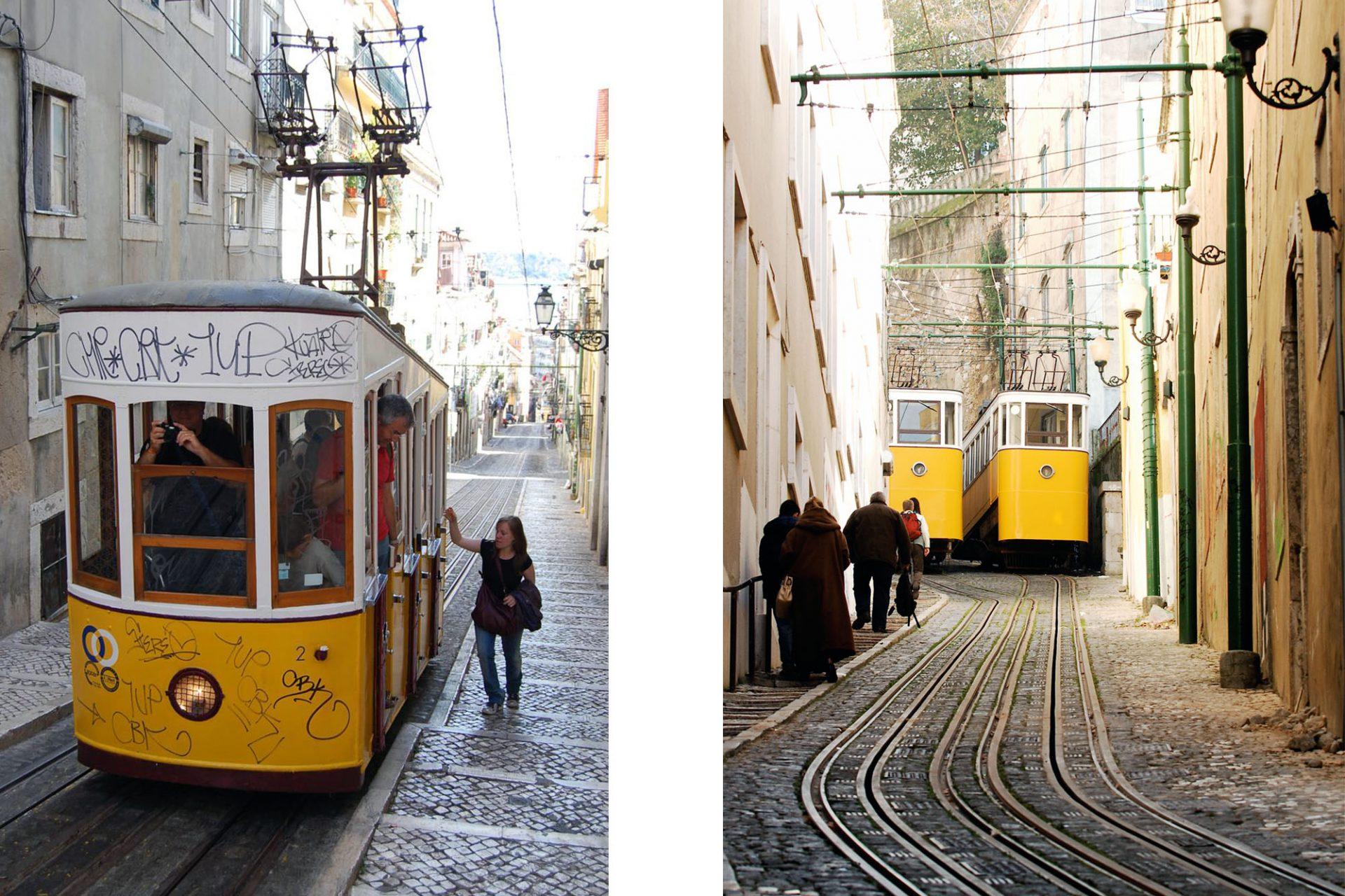 Elevador da Bica (links) und Elevador do Lavra (rechts). Die 1892 eröffnete Bahn überwindet eine Höhendifferenz von 45 Metern auf einer Länge von 260 Metern. Die 1884 eröffnete Bahn überwindet eine Differenz von 43 Metern auf einer Länge von 182 Metern.