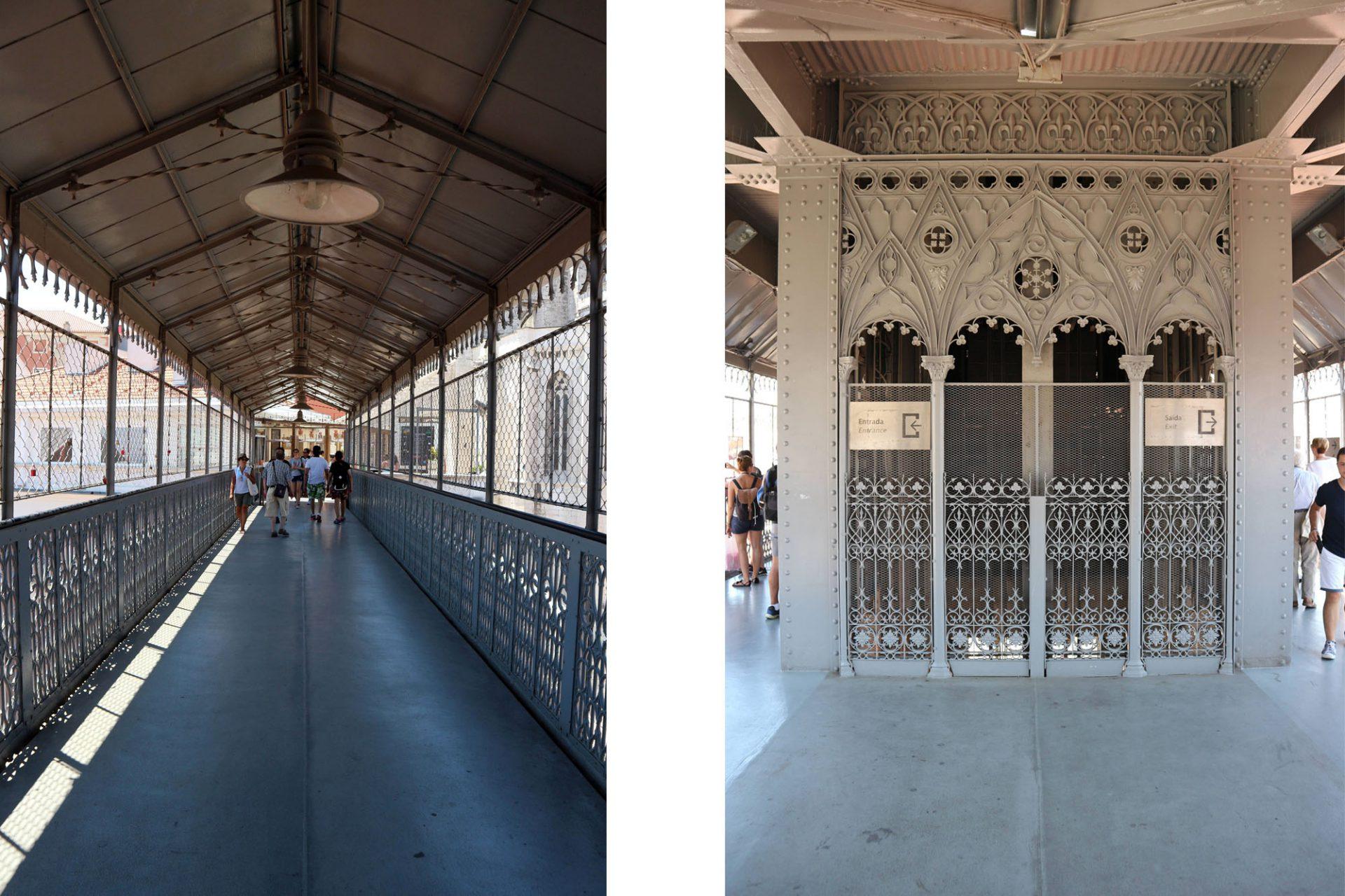 Elevador de Santa Justa. Gehweg und Turm werden durch neo-gotische Elemente definiert.