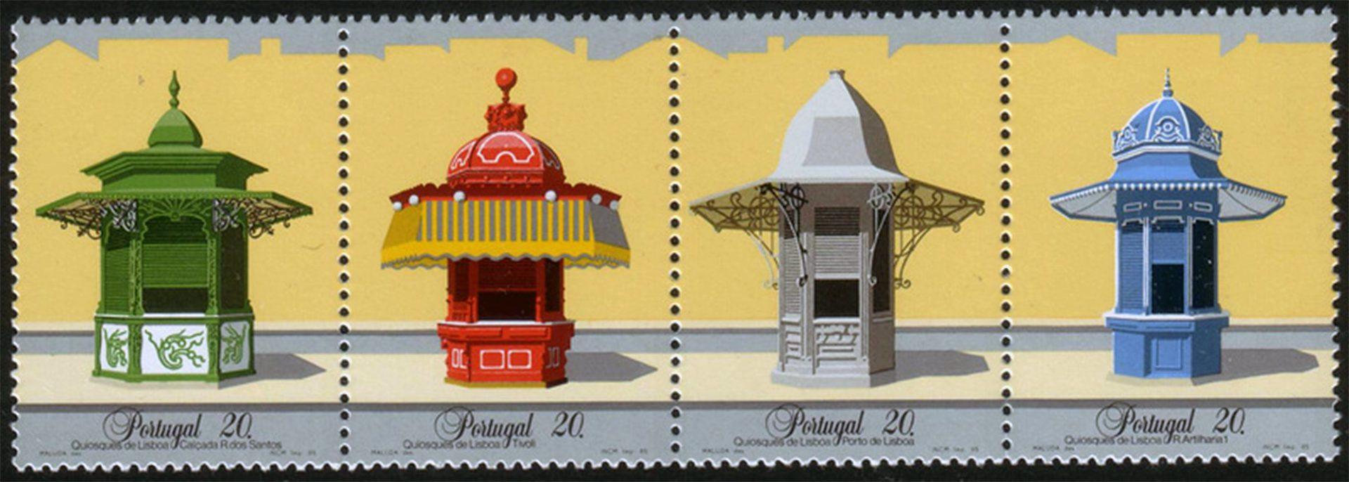Quiosques. 1985 erschien bei der Correios de Portugal eine Briefmarkenserie mit historischen Quiosques.
