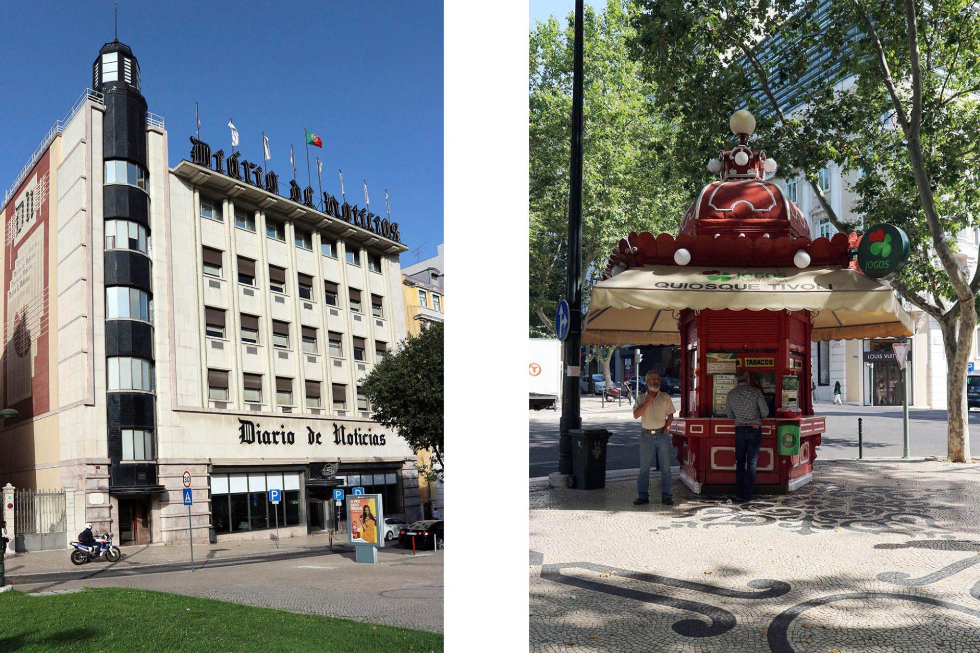 Tivoli Kiosk. Großzügige Stifterin war die Zeitung Diário de Notícias. Ein paar Meter nördlich steht das Verlagshaus. Es entstand zwischen 1936-1939 nach einem Entwurf des Architekten Porfírio Pardal Monteiro. Es gilt als Paradestück portugiesischer Baukunst und wurde 1940 mit dem Architekturpreis Prémio Valmor ausgezeichnet.