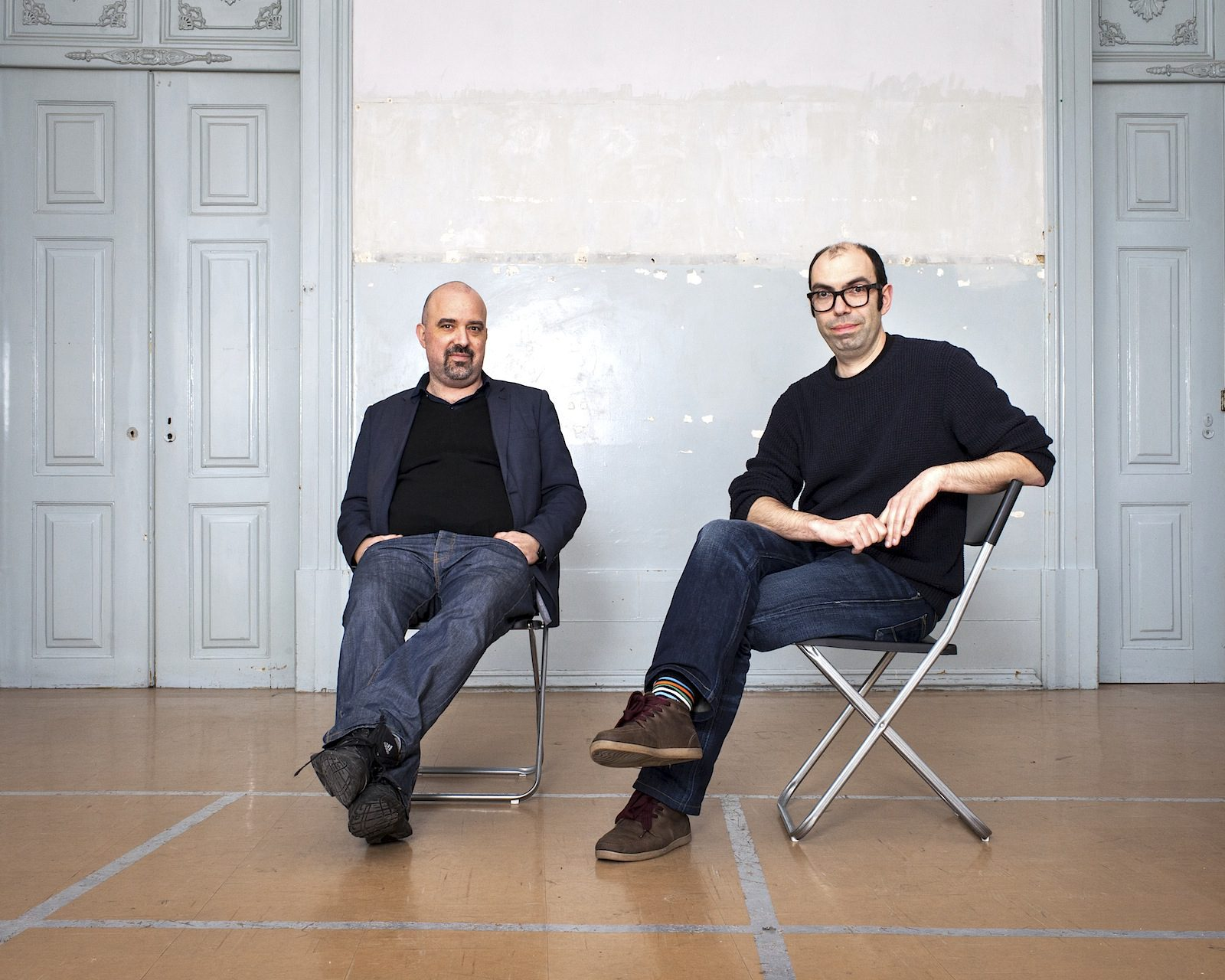 The curators of the Lisbon Architecture Triennale.  Diogo Seixas Lopes (left, 1972–2016) and André Tavares.