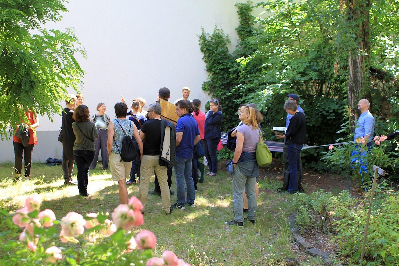Grün. Im Garten des Tischlerei- und Lehrwerkstättengebäudes