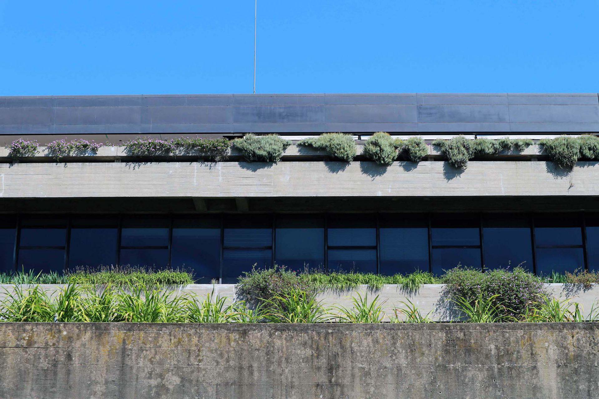 Die Materialien. Die Einfachheit und Strenge der Architektur zeigt sich auch in der Wahl der Materialien. Die Fassade bestimmen Sichtbeton und Granit. Die Fenster bestehen aus bronziertem Glas mit oxidierten Messingrahmen.