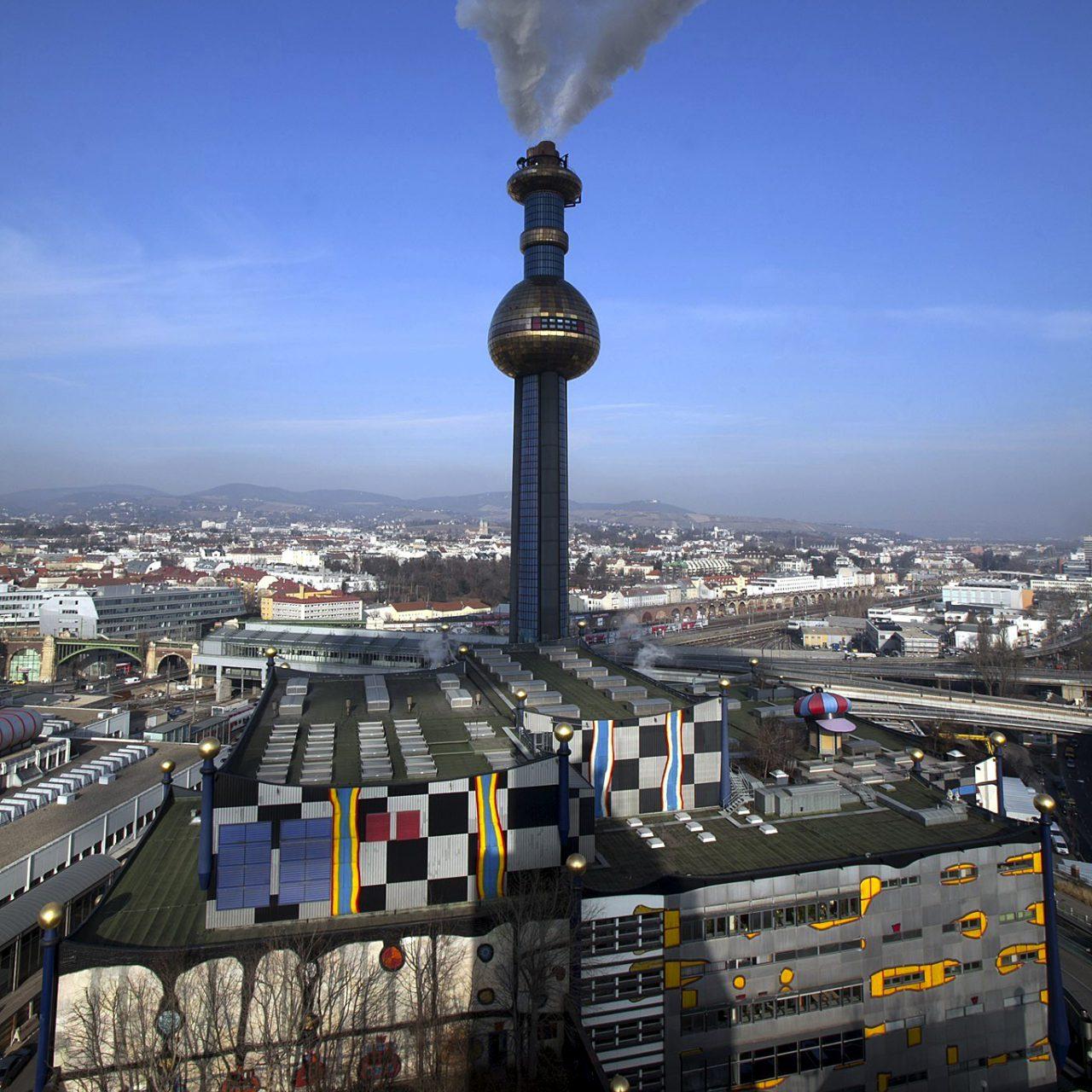 Müllverbrennungsanlage Spittelau. Friedensreich Hundertwasser: Fassadengestaltung 1989