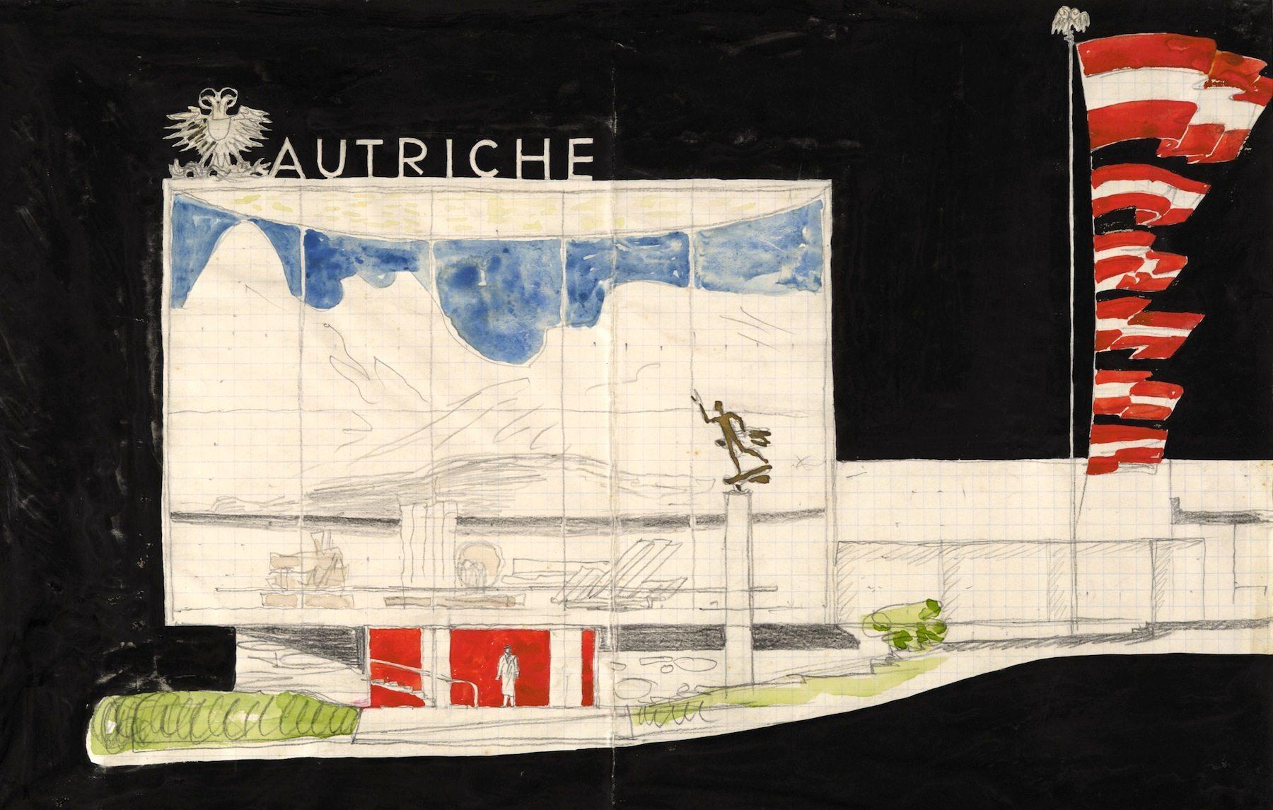 Wettbewerbsprojekt Weltausstellungs-Pavillon für Paris, 1936–1937. Oswald Haerdtl
