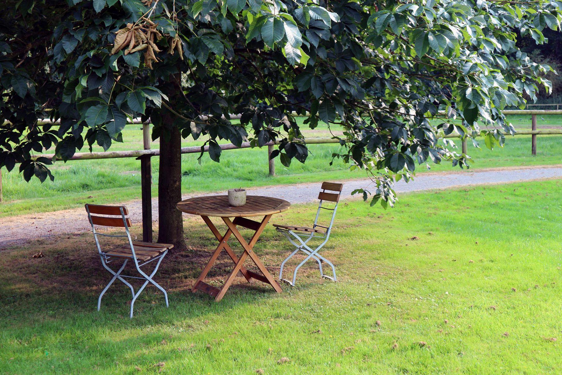 Forsthaus Heiligenberg.  Die Gartenanlage ist 4 Hektar groß.