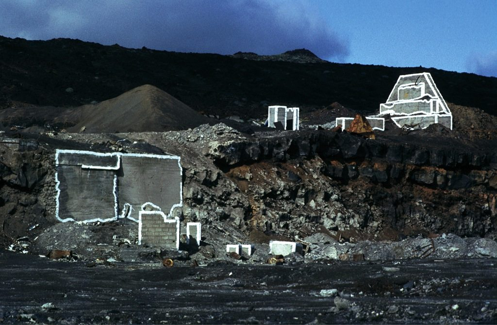 Bauzeichnung La Restinga II. 1983, Wandfarbe auf Beton, La Restinga, El Hierro, Kanarische Inseln, Spanien