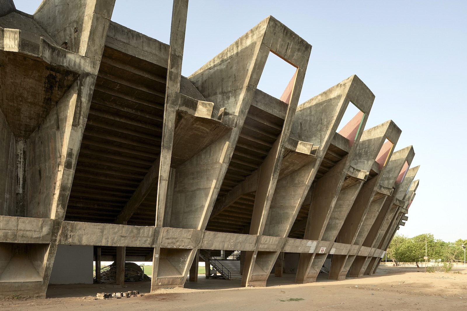 Sardar Patel Cricket Stadium, Ahmedabad, 1962–65.  Architect: Charles Correa. Engineer: Mahendra Raj